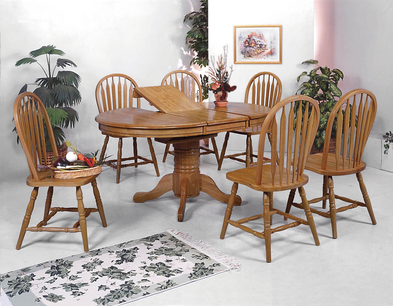 1052 Crown Mark Dark Oak Dining Room Set
