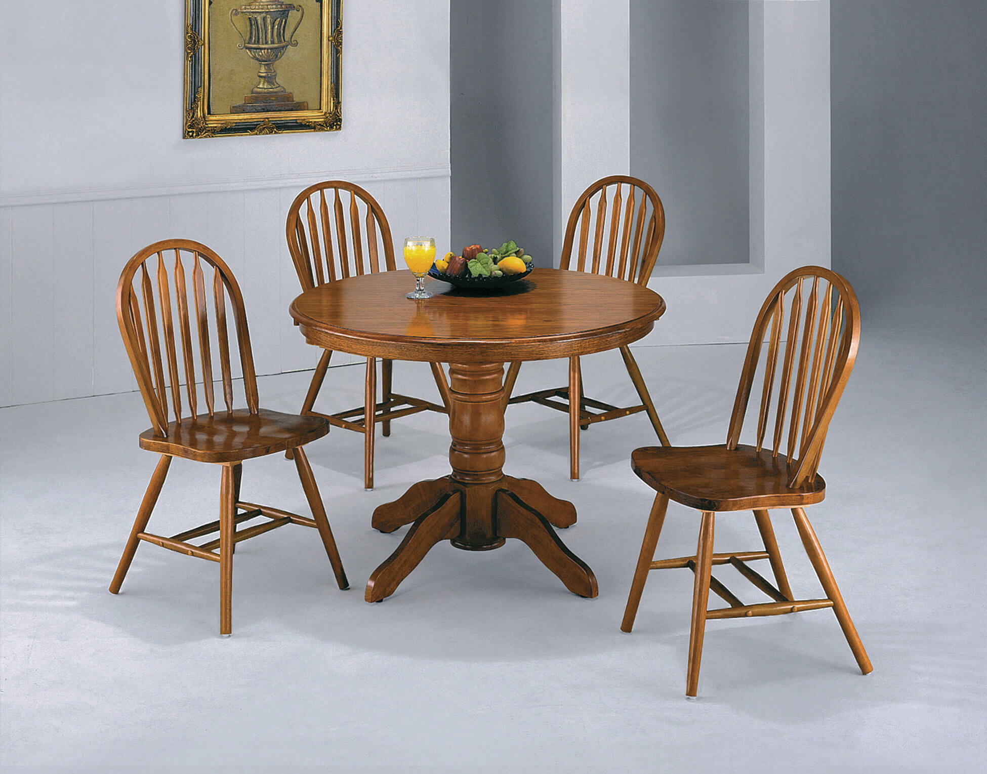 Crown Mark Medium Oak Pedastal Dinette Set Dining Room Sets