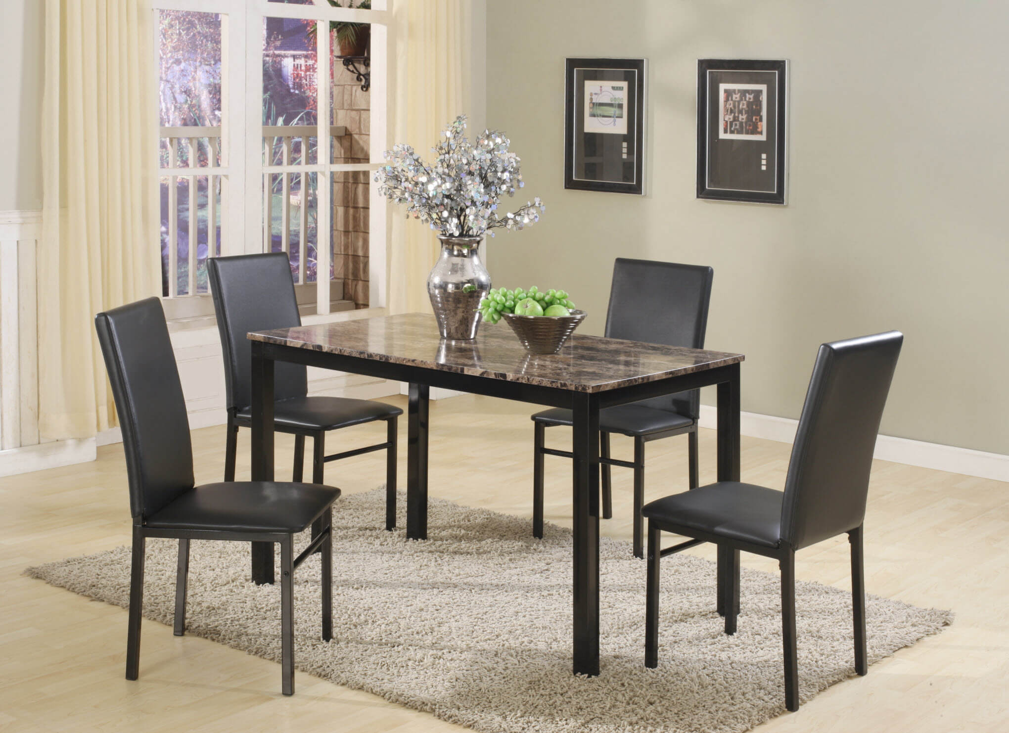 Aiden Black Metal 5 Pc Dining Set