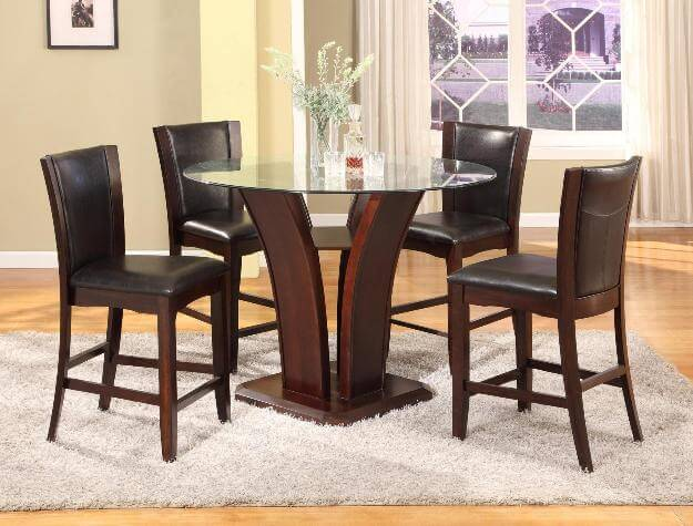 Crown Mark Camelia Counter Height Glass Dining Set Brown