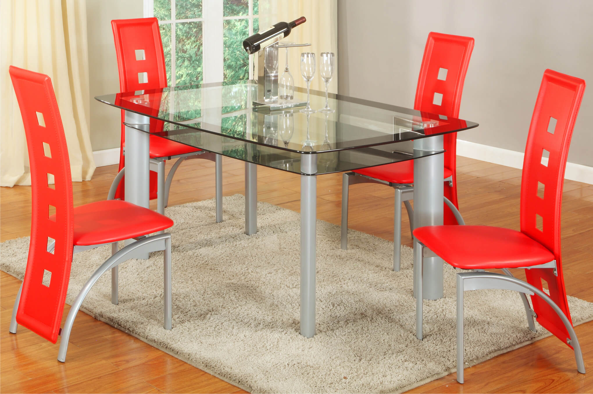 2222 metro red 5 piece dining set - Red Dining Room Set