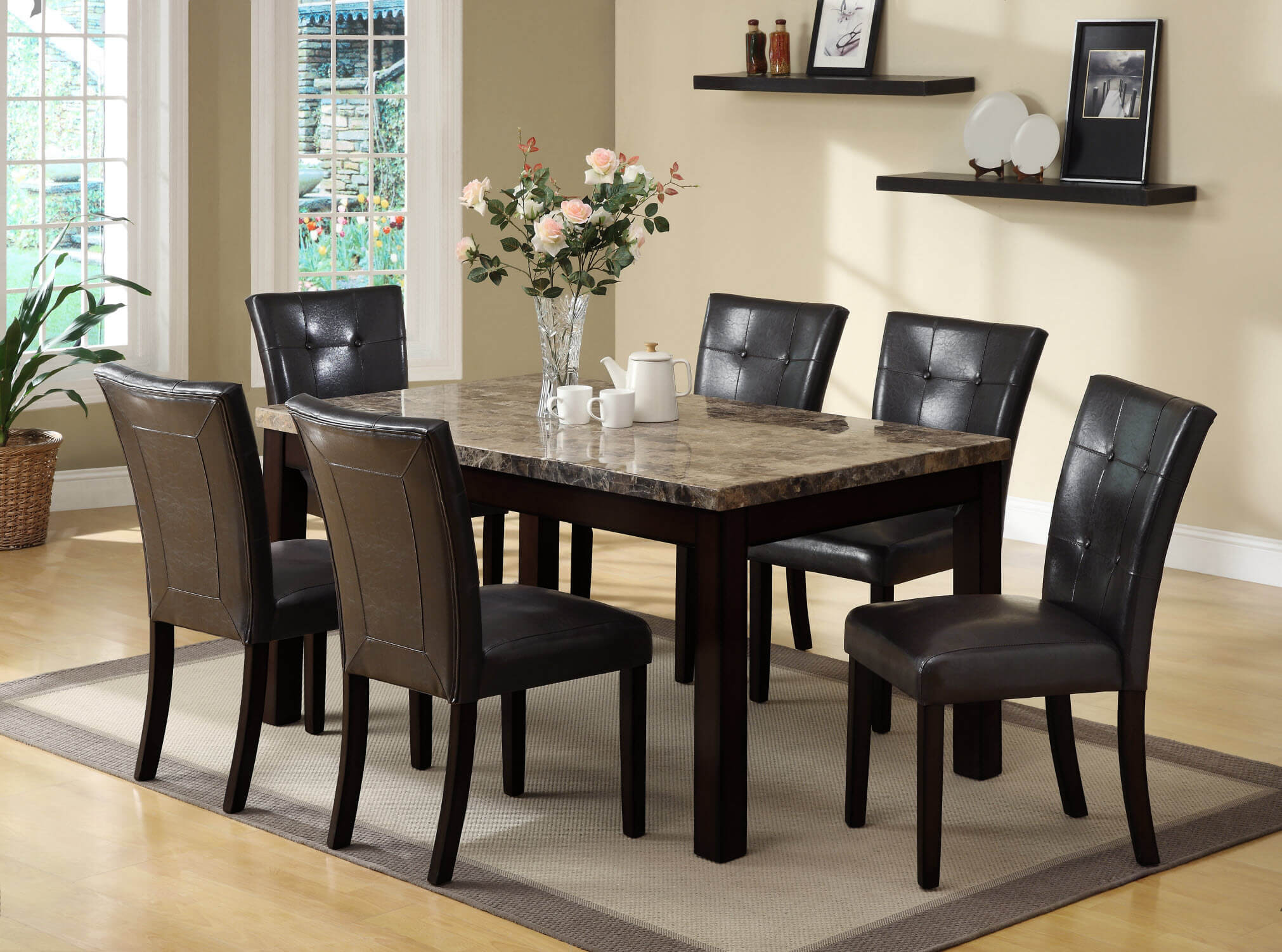 Bruce 5 Pc Espresso Dining Set Dining Furniture Room Sets