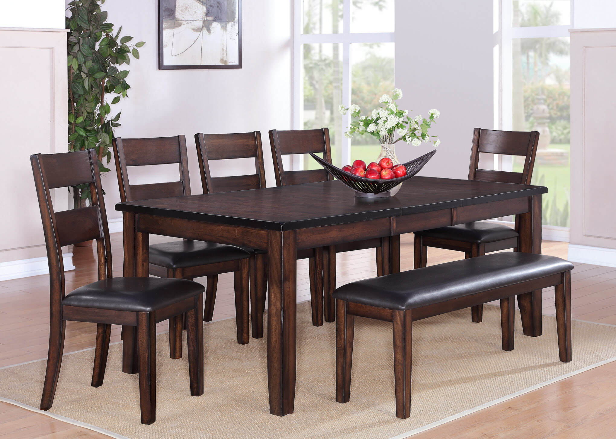 2360 Maldives 7 Piece Dining Set With Bench By Crown Mark