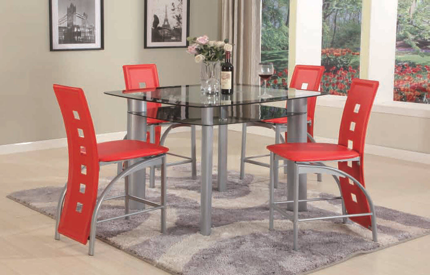 3422 Red 5 Piece Metro Counter Height Set