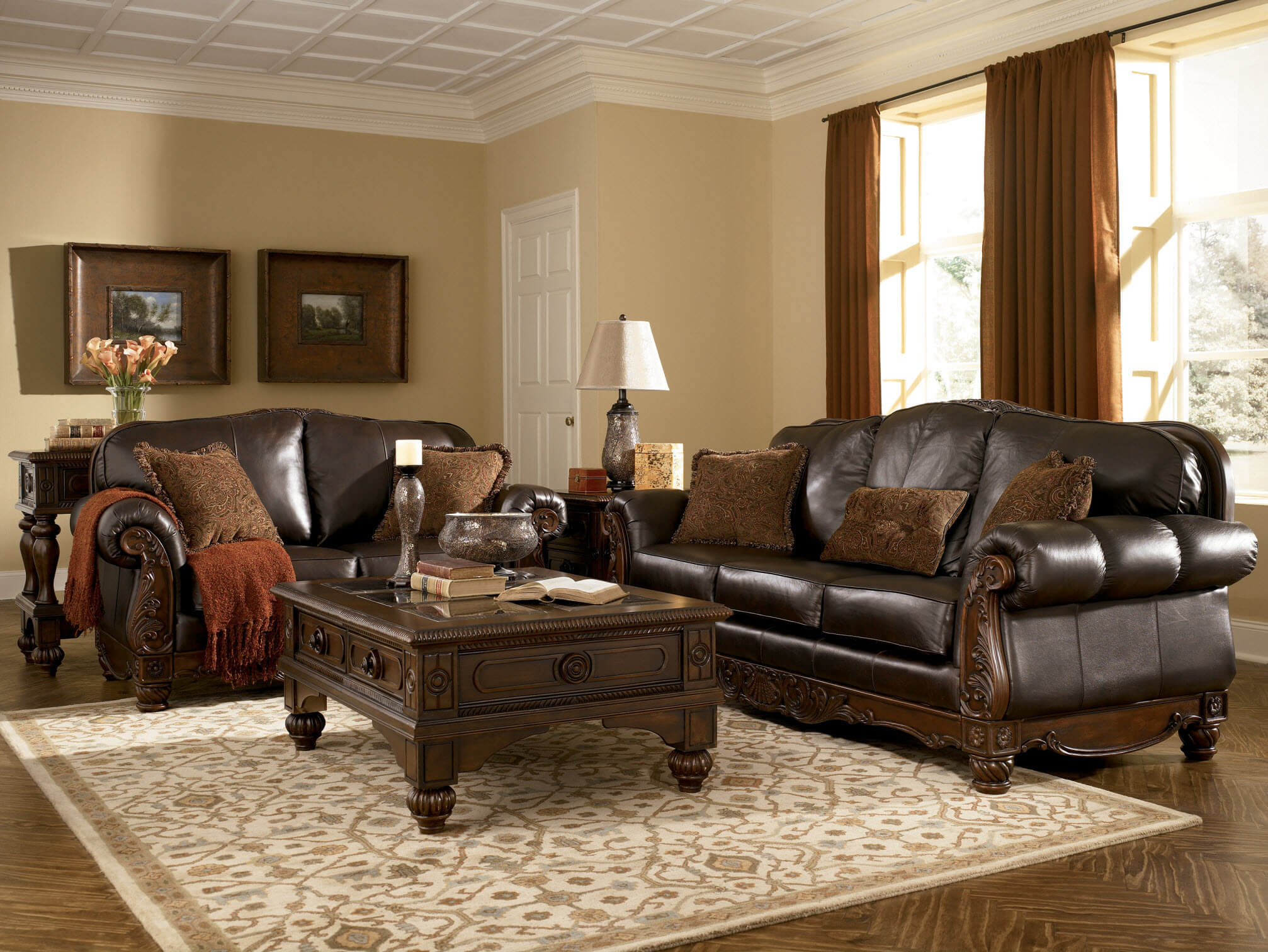 Ashley north shore sofa and loveseat living room sets - Leather furniture for small living room ...