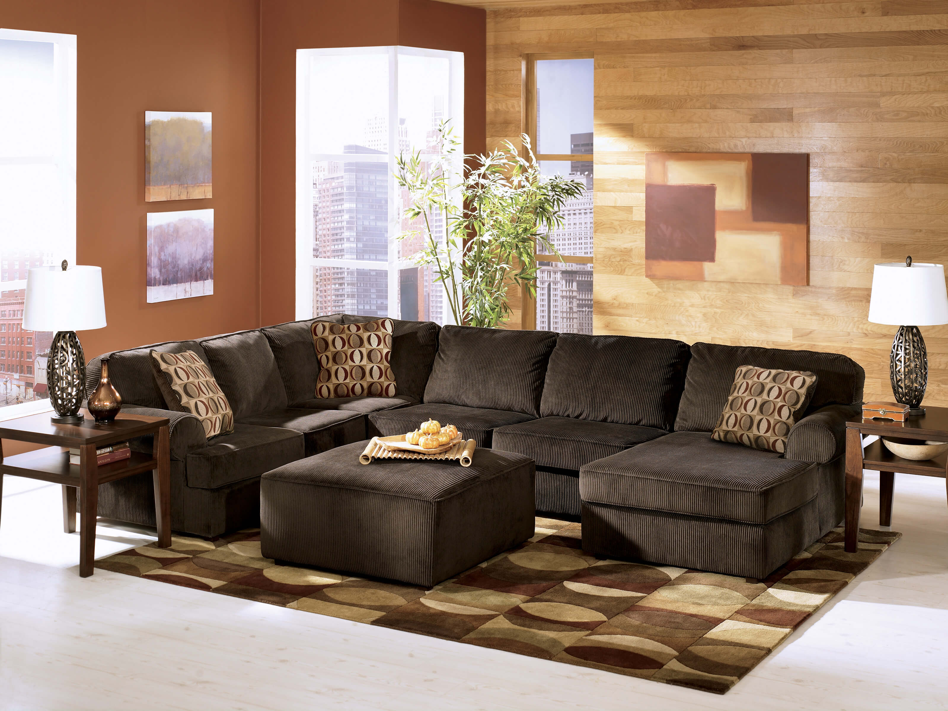 Astounding 68404 Vista Chocolate Ashley Sectional Discontinued Andrewgaddart Wooden Chair Designs For Living Room Andrewgaddartcom