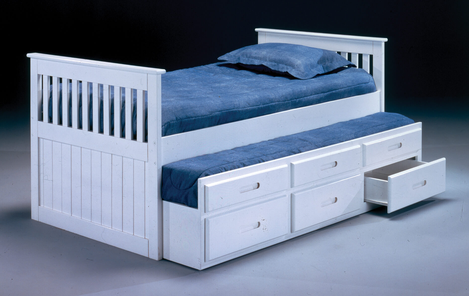3042 White Captains Bed With Trundle By Bernards