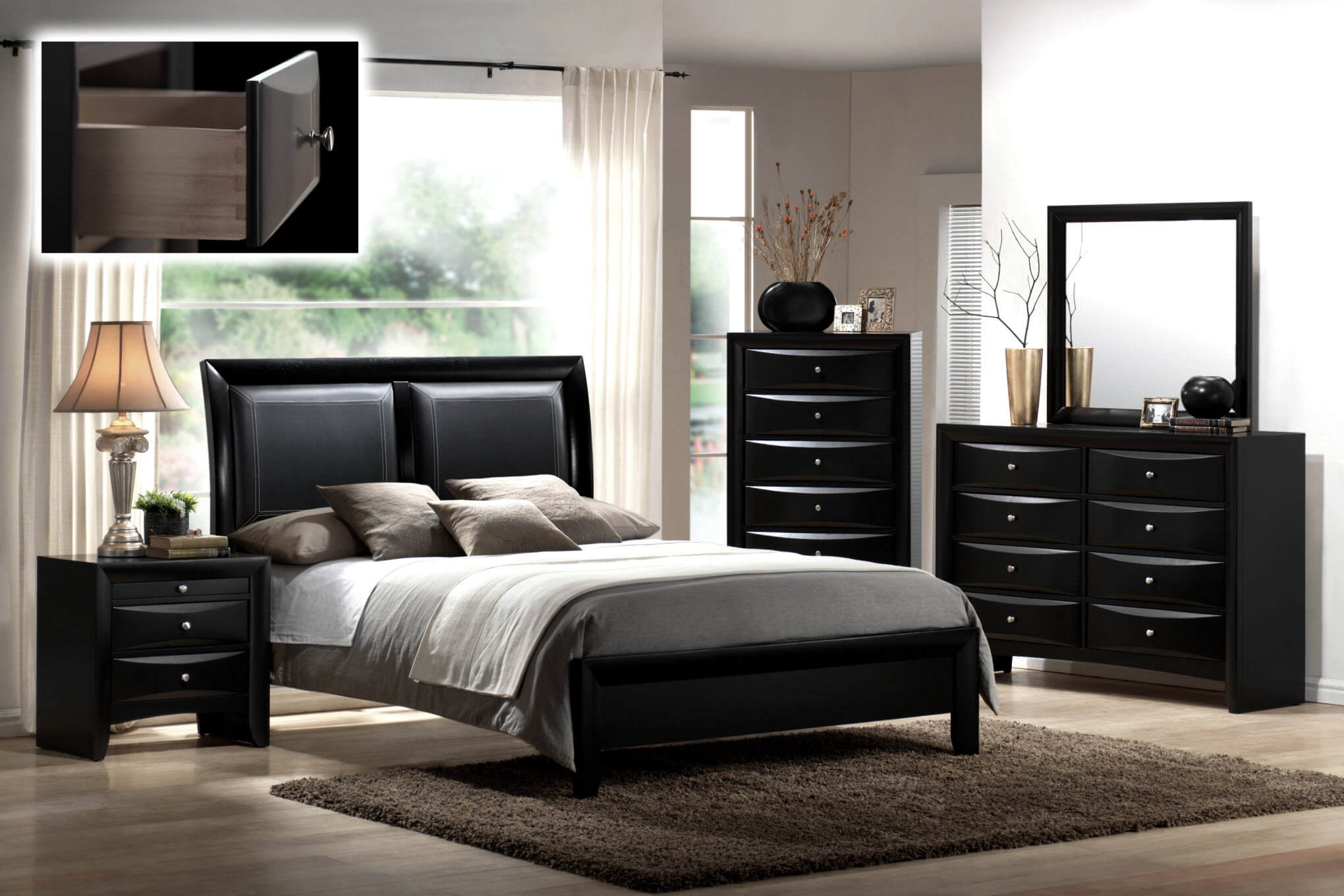 B4280 Crown Mark Emily Black Bedroom Set