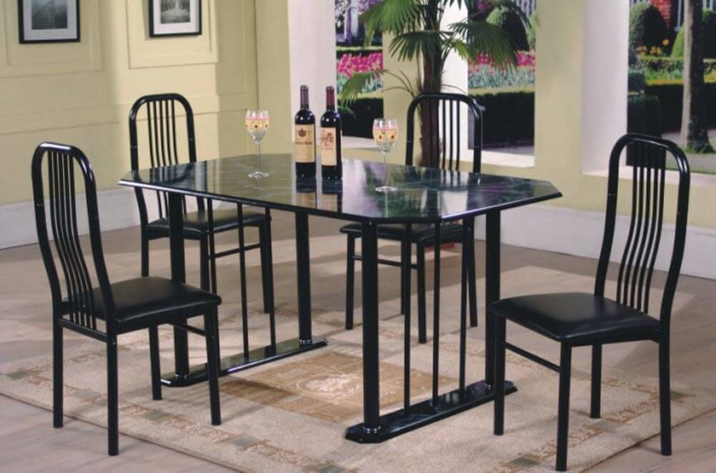 D3813 Black Faux Marble Dinette Set by Global Trading