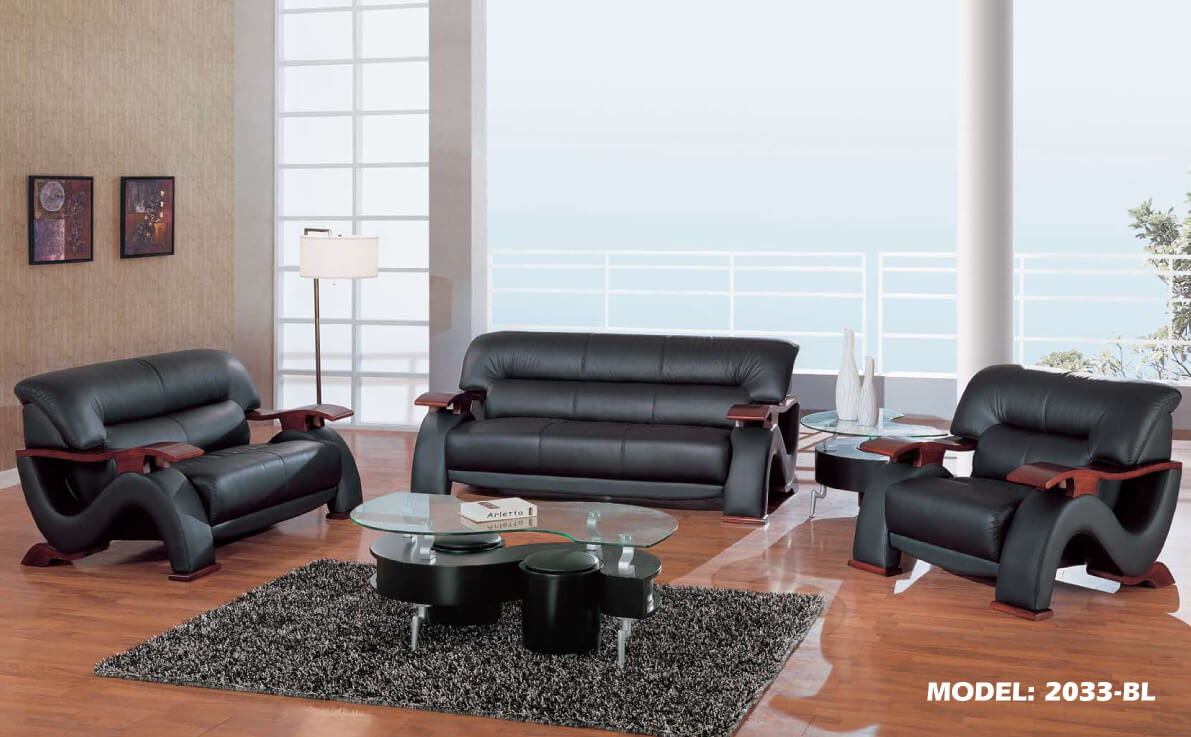 Sherman Black Sofa And Loveseat Leather Living Room Sets