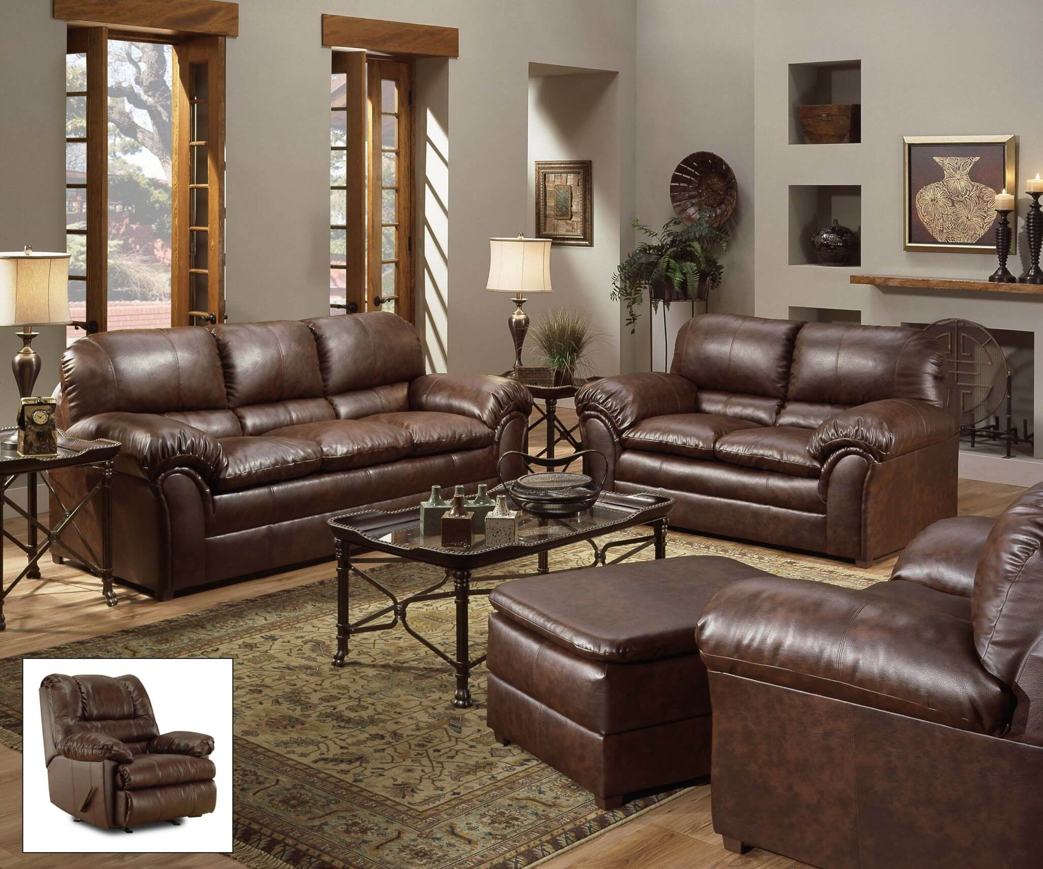 Geneva Mahogany Sofa And Loveseat Living Room Sets