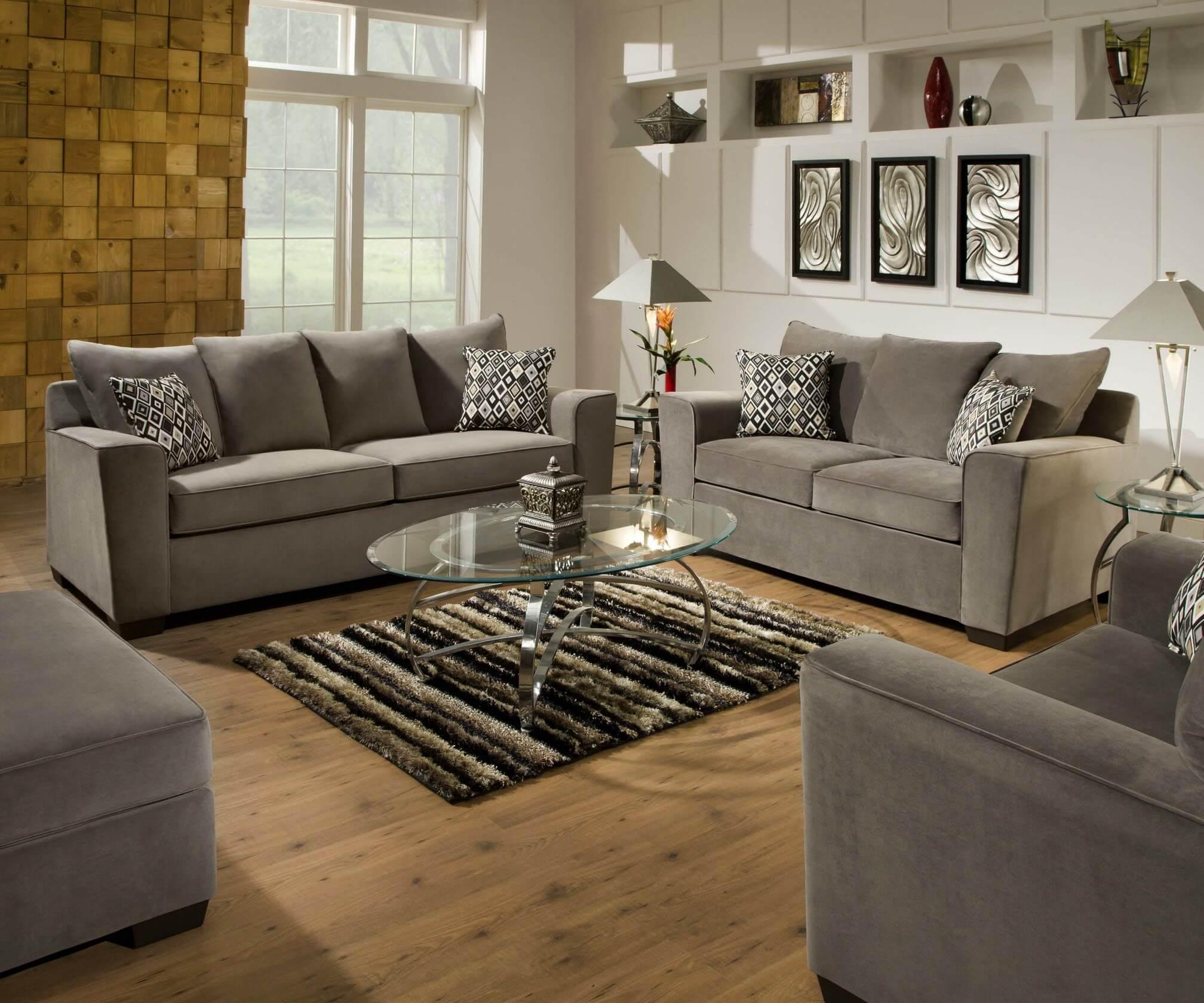 Roxanne Gunsmoke Sofa And Loveseat Living Room Sets