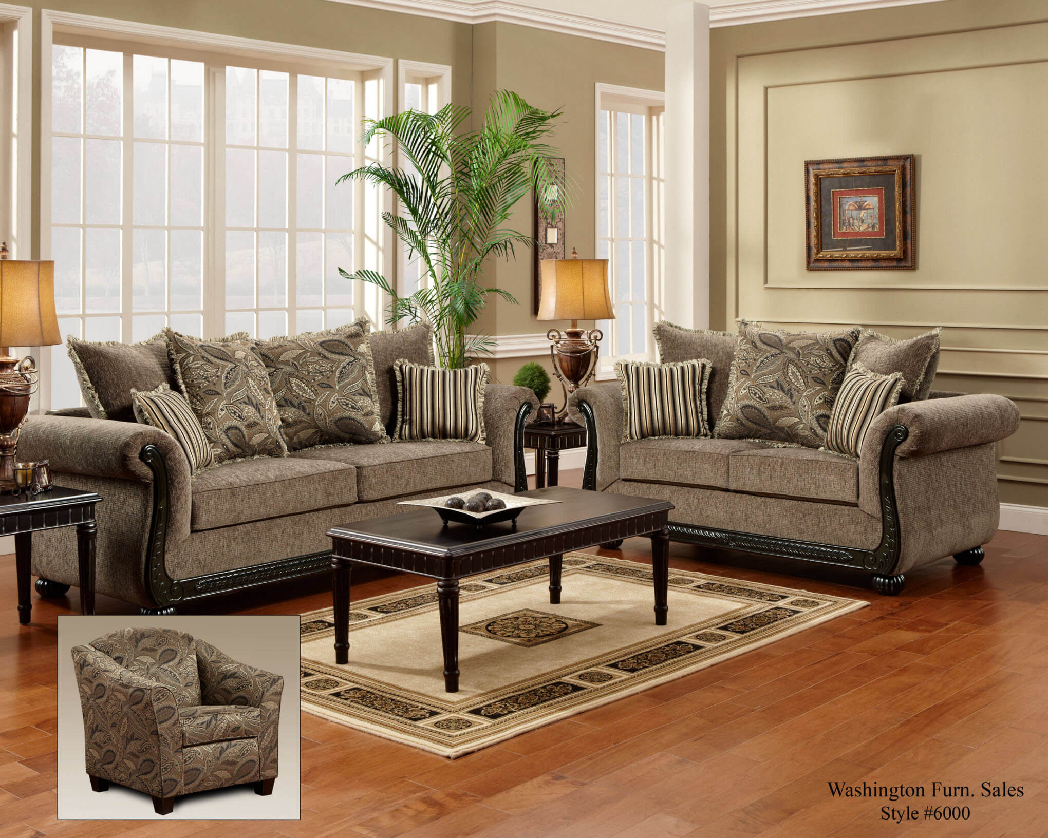 Dream Java Sofa And Loveseat Fabric Living Room Sets