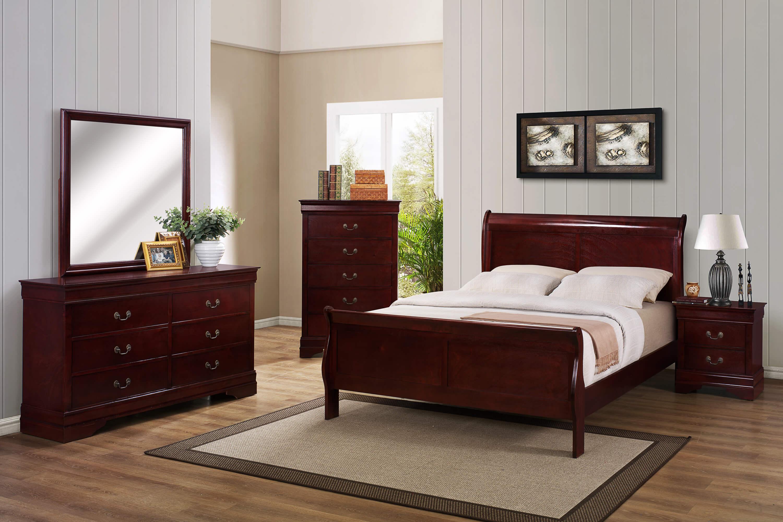 B3850 Cherry Louis Philip Bedroom Set by Crown Mark