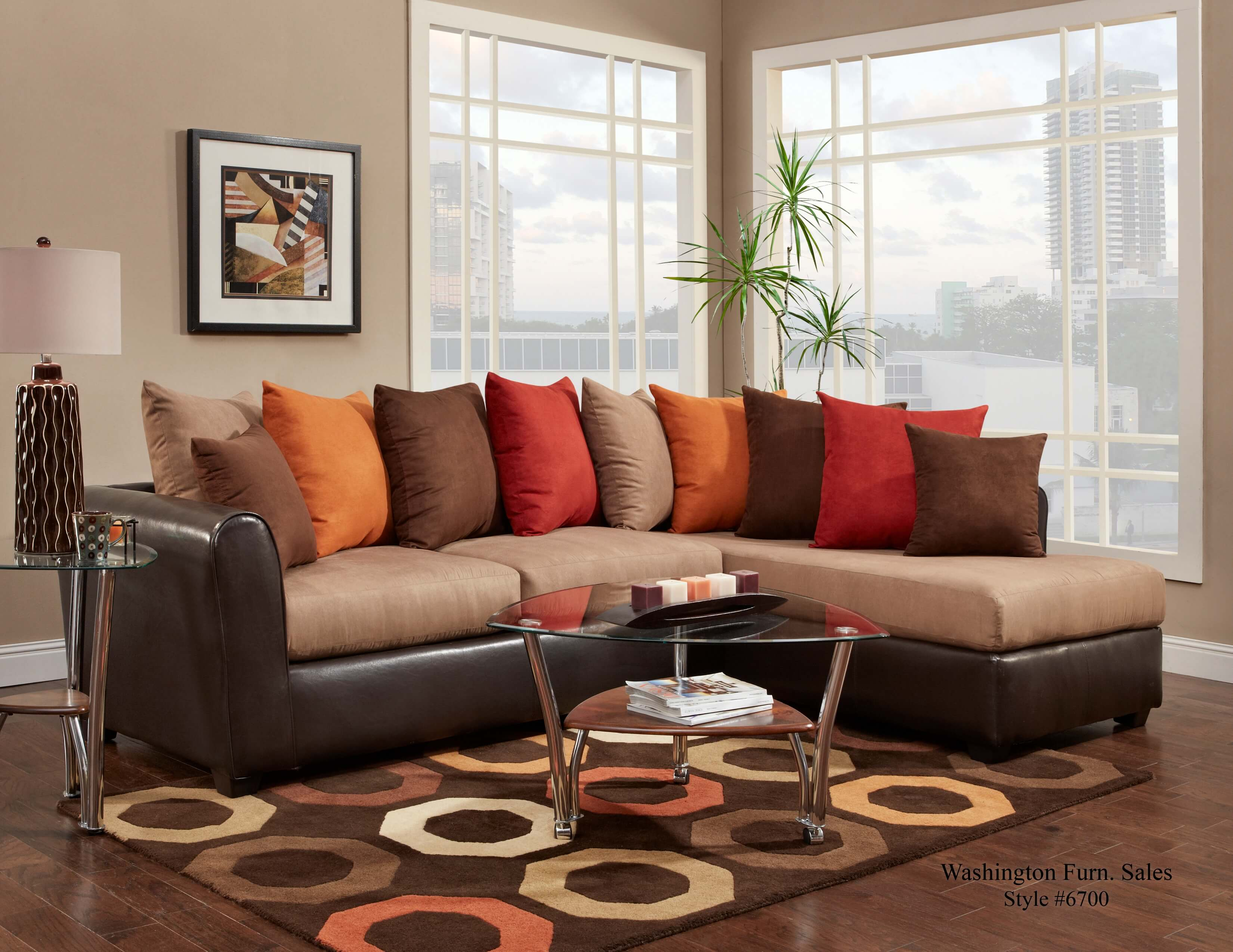 Washington Victory Lane Taupe Trapper Brown Sectional