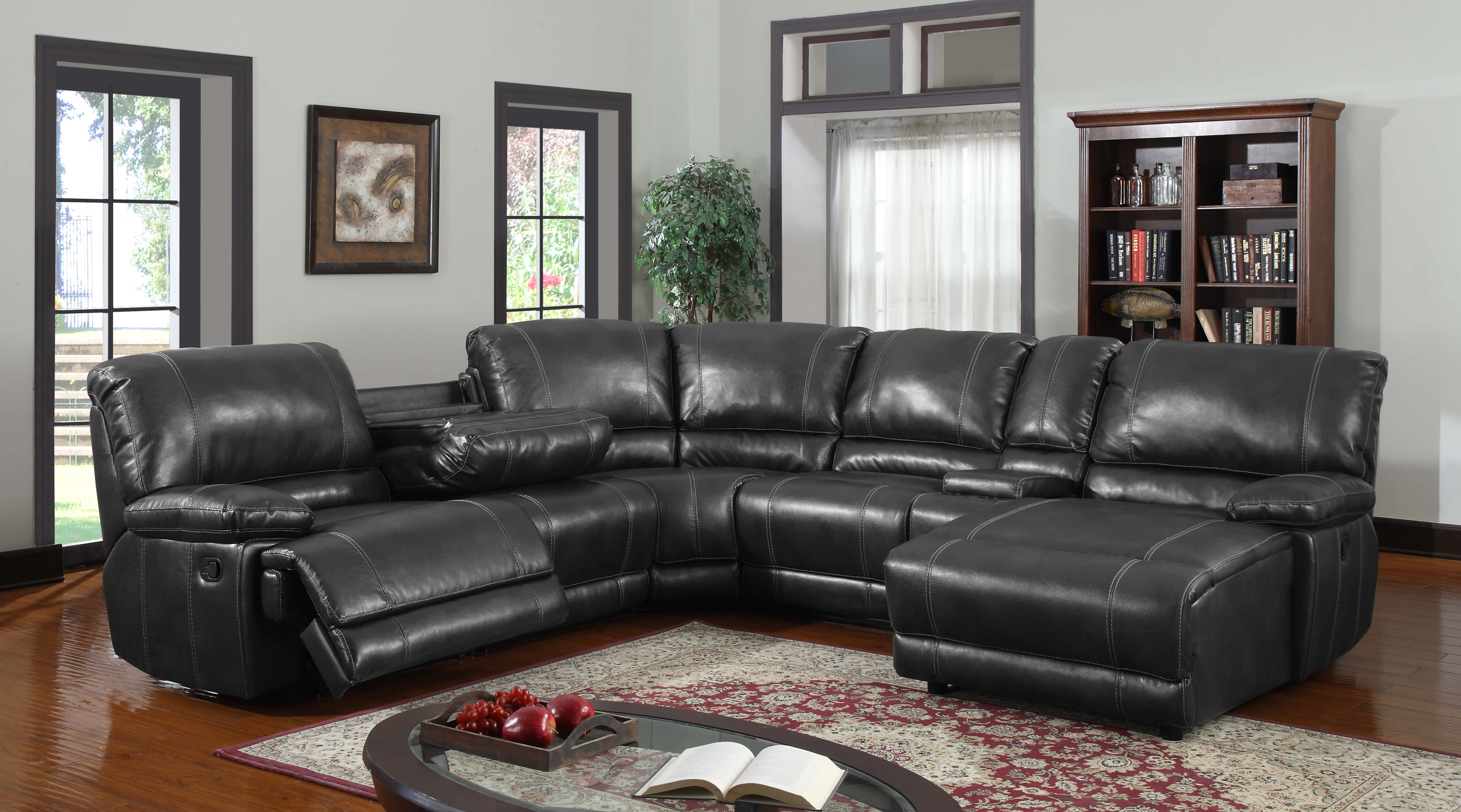 Black Sectional Recliner and Chaise   Sectional Sofa Sets