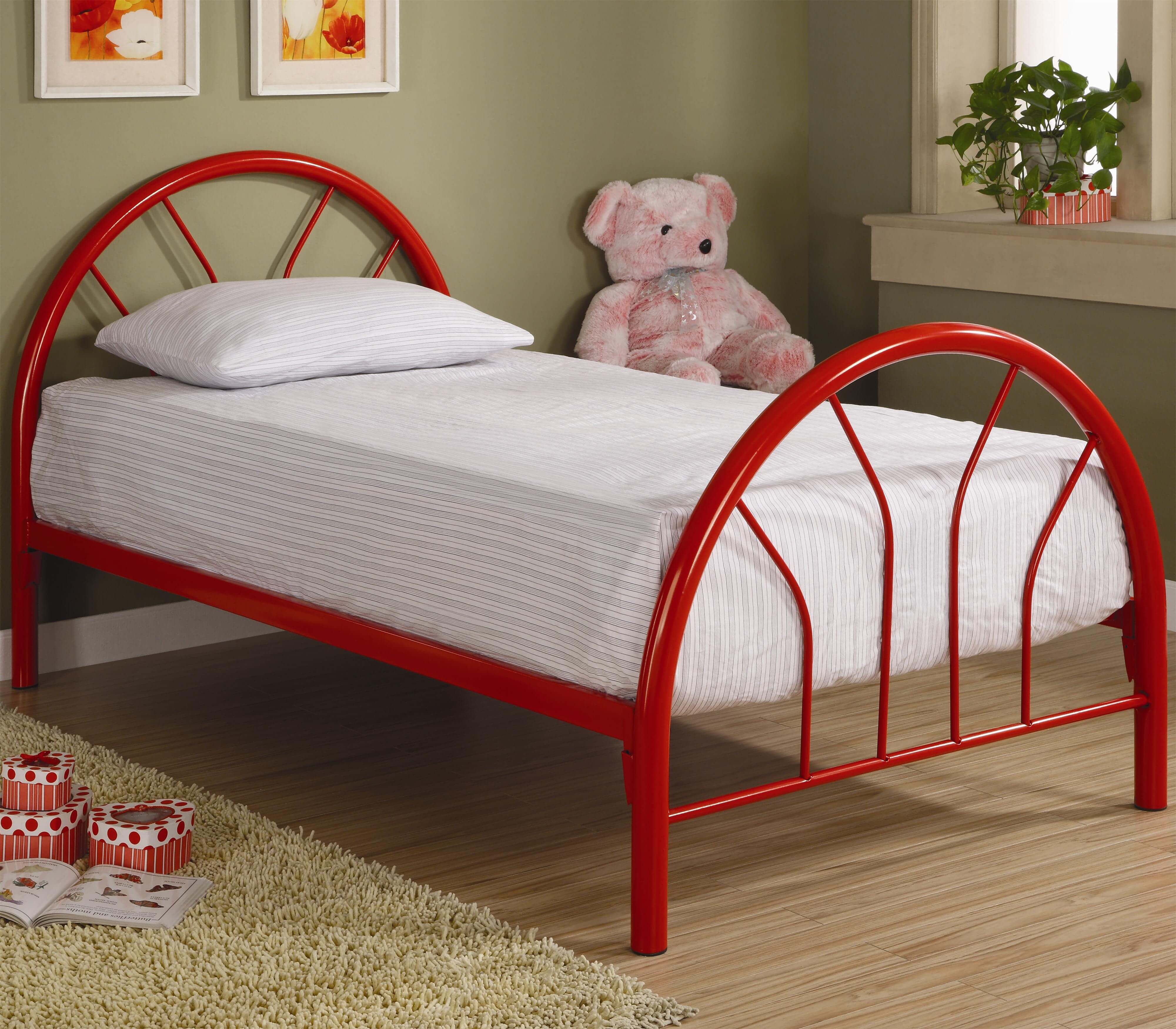 4461 Brooklyn Twin Red Metal Bed