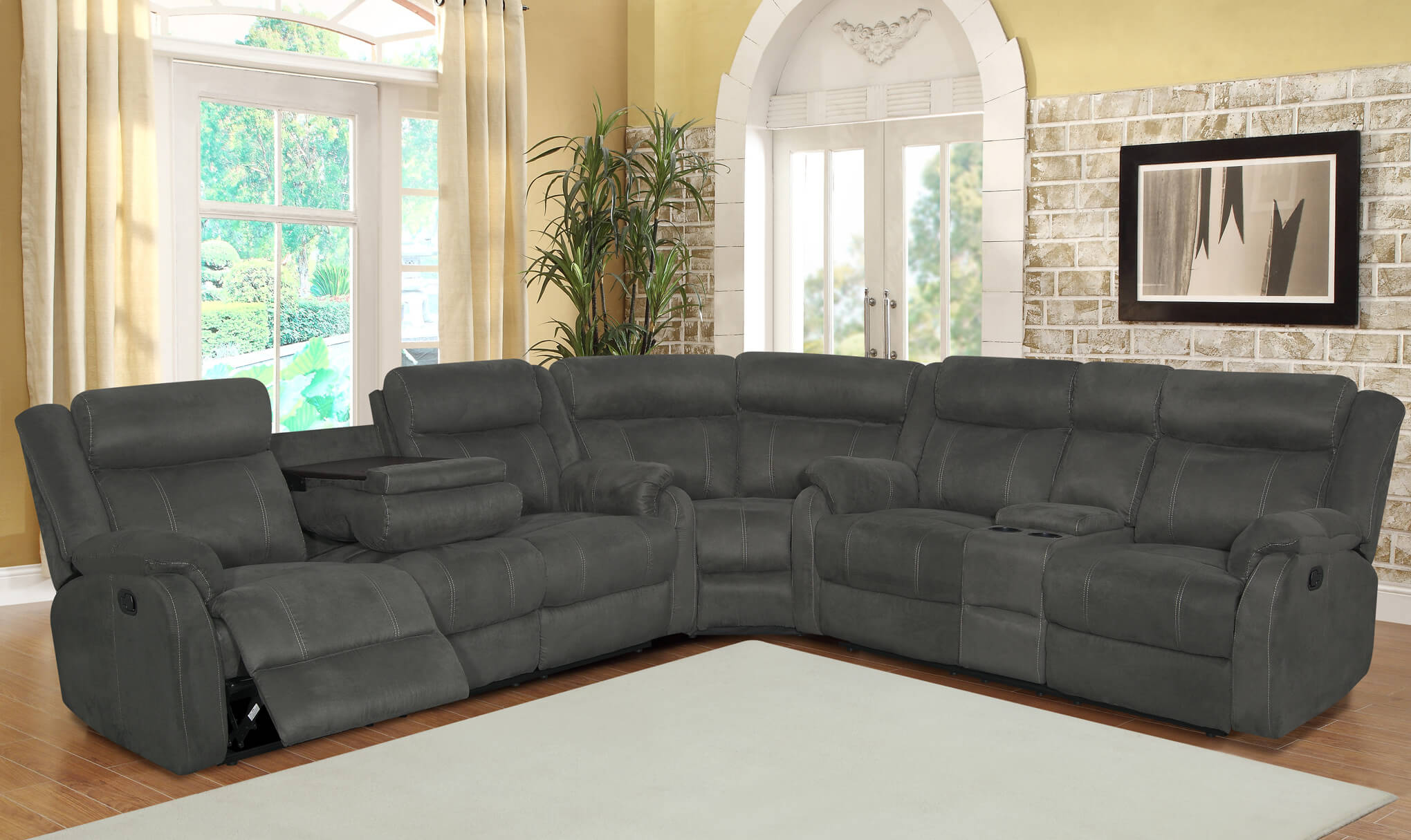 brand new ee52c 216e4 U9303 Global Furniture USA Grey Reclining Sectional-DISCONTINUED