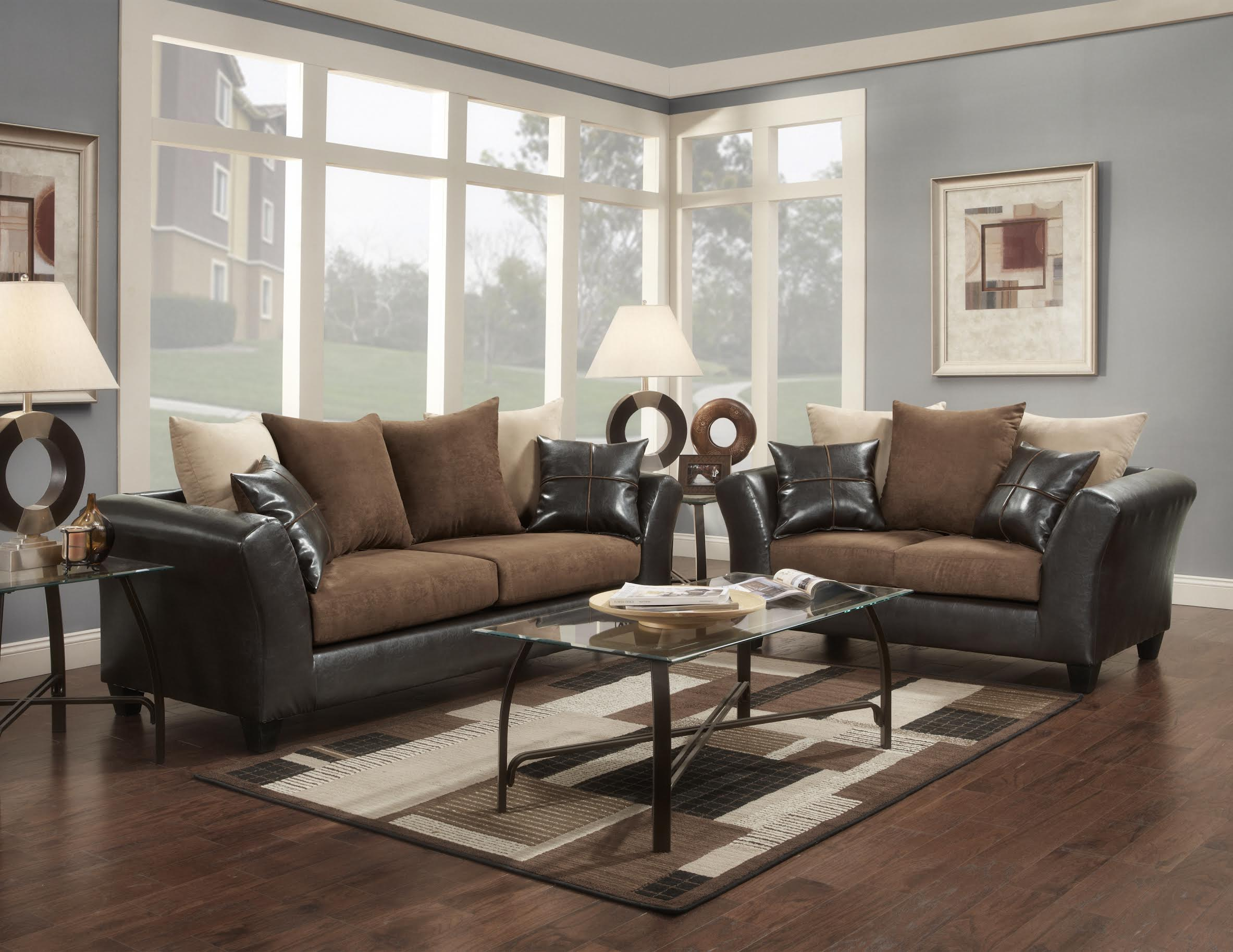 9000 Flatsuede Chocolate Sofa and Loveseat-DISCONTINUED