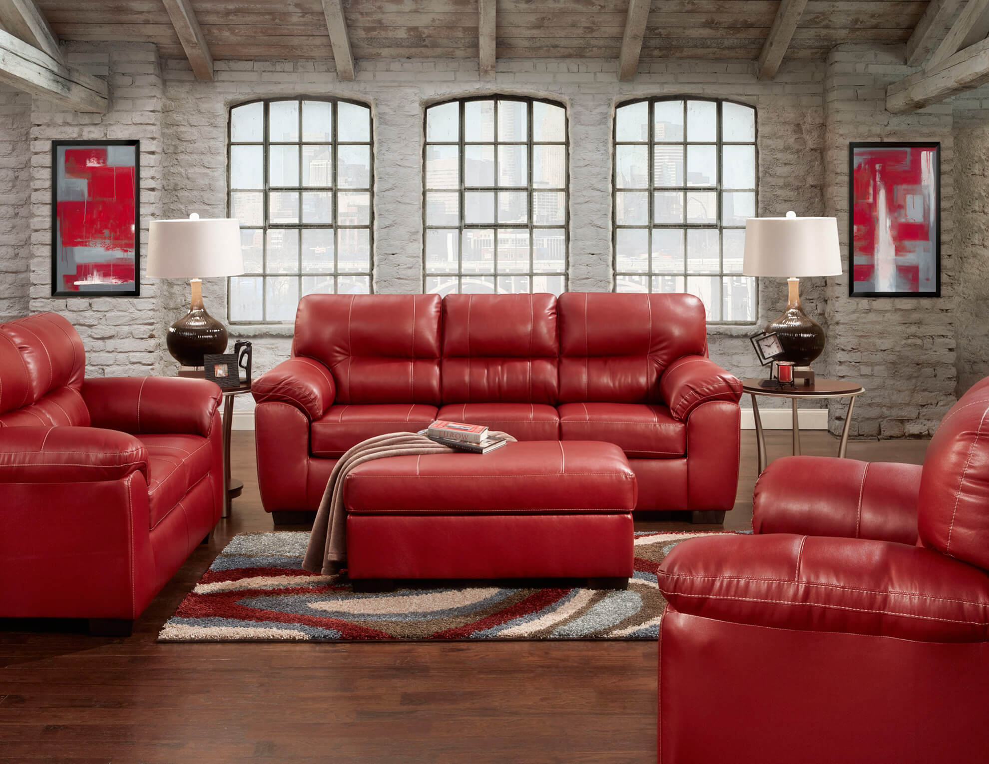 Red Sofa Set with Wood Trim - Traditional Leather Sofa Set with ...