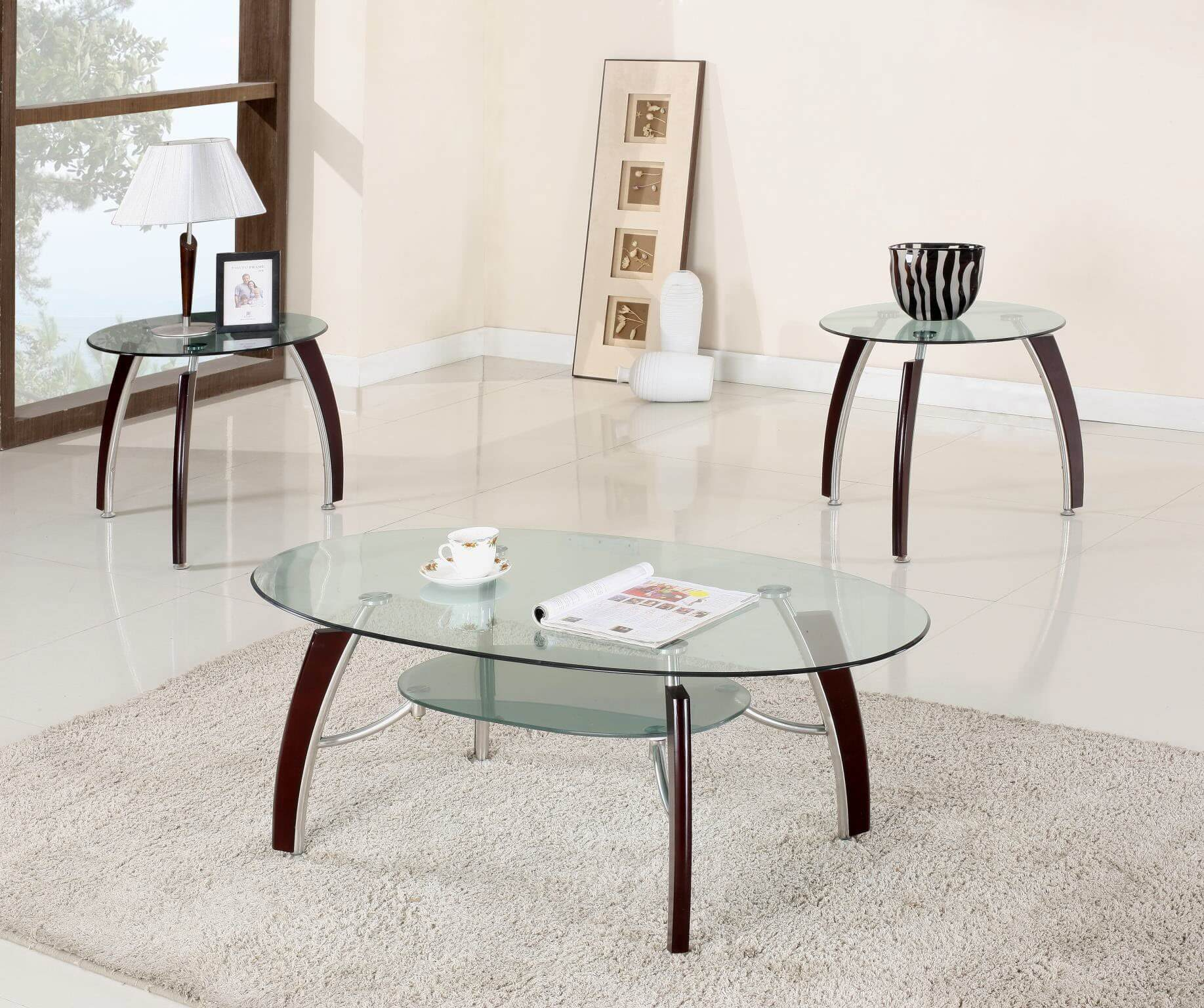 Cappuccino And Chrome Coffee End Table Set