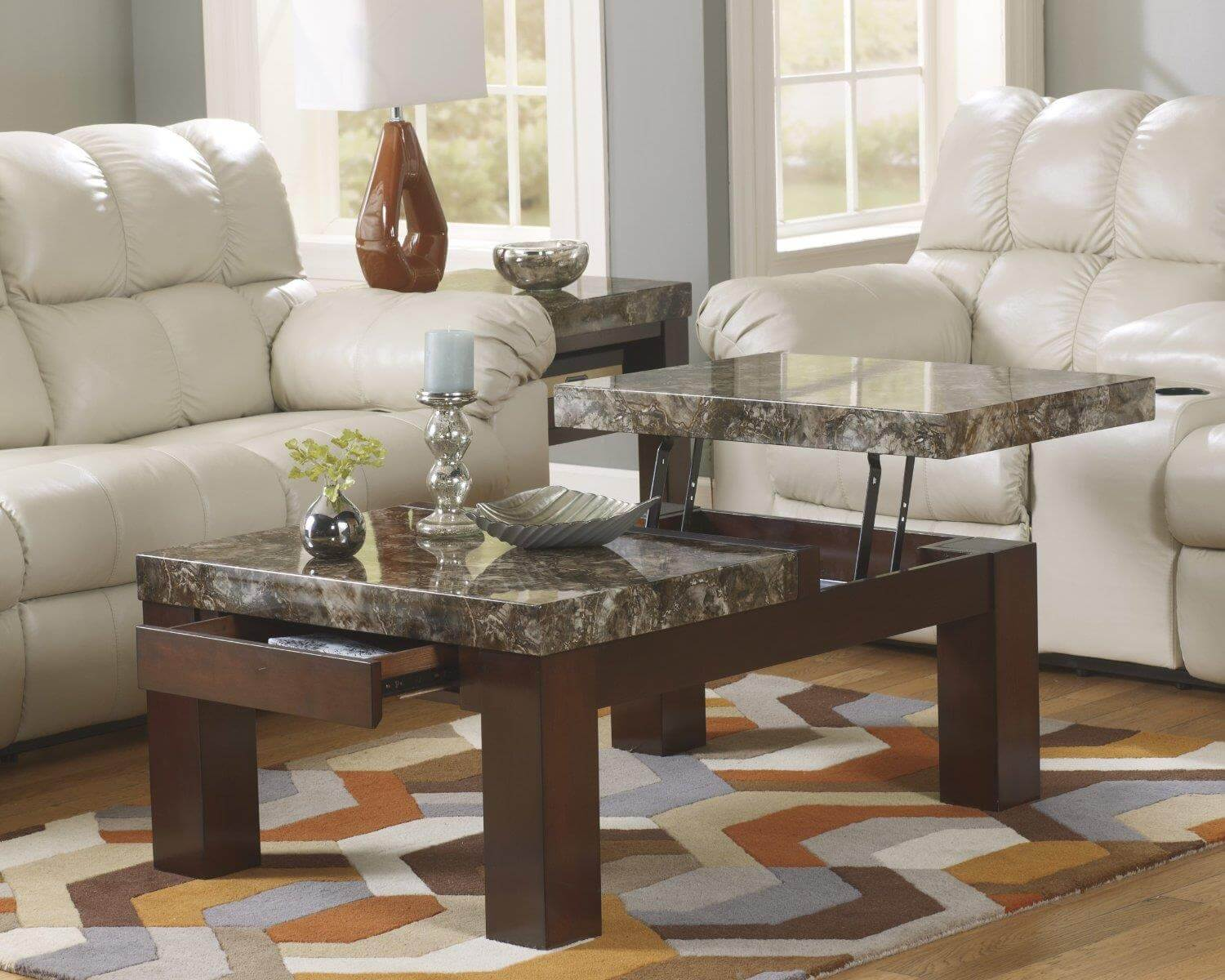 3319 Lift Top Coffee Table Faux Marble