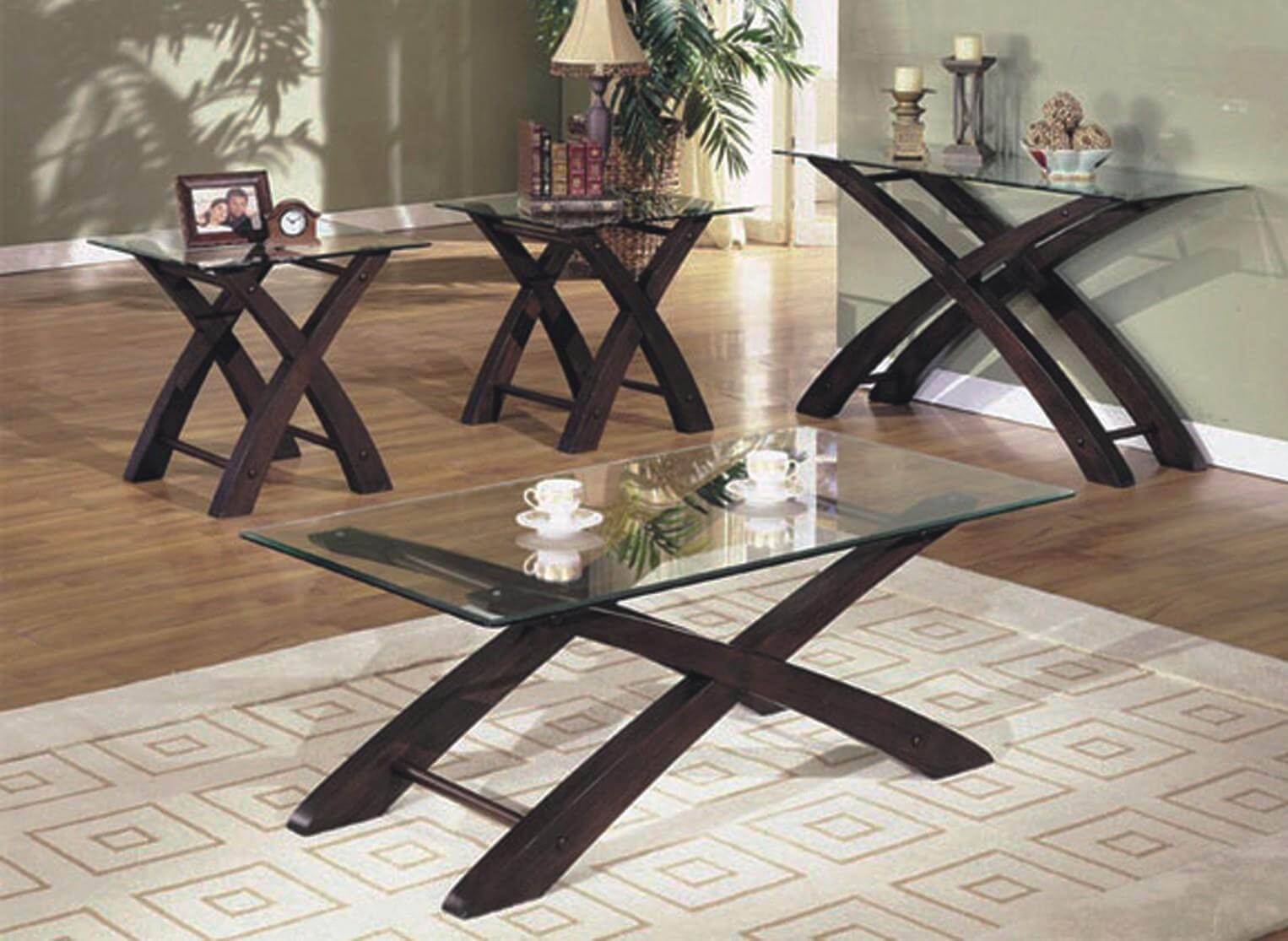 Cherry and glass coffee end table set occasional tables Glass coffee and end tables