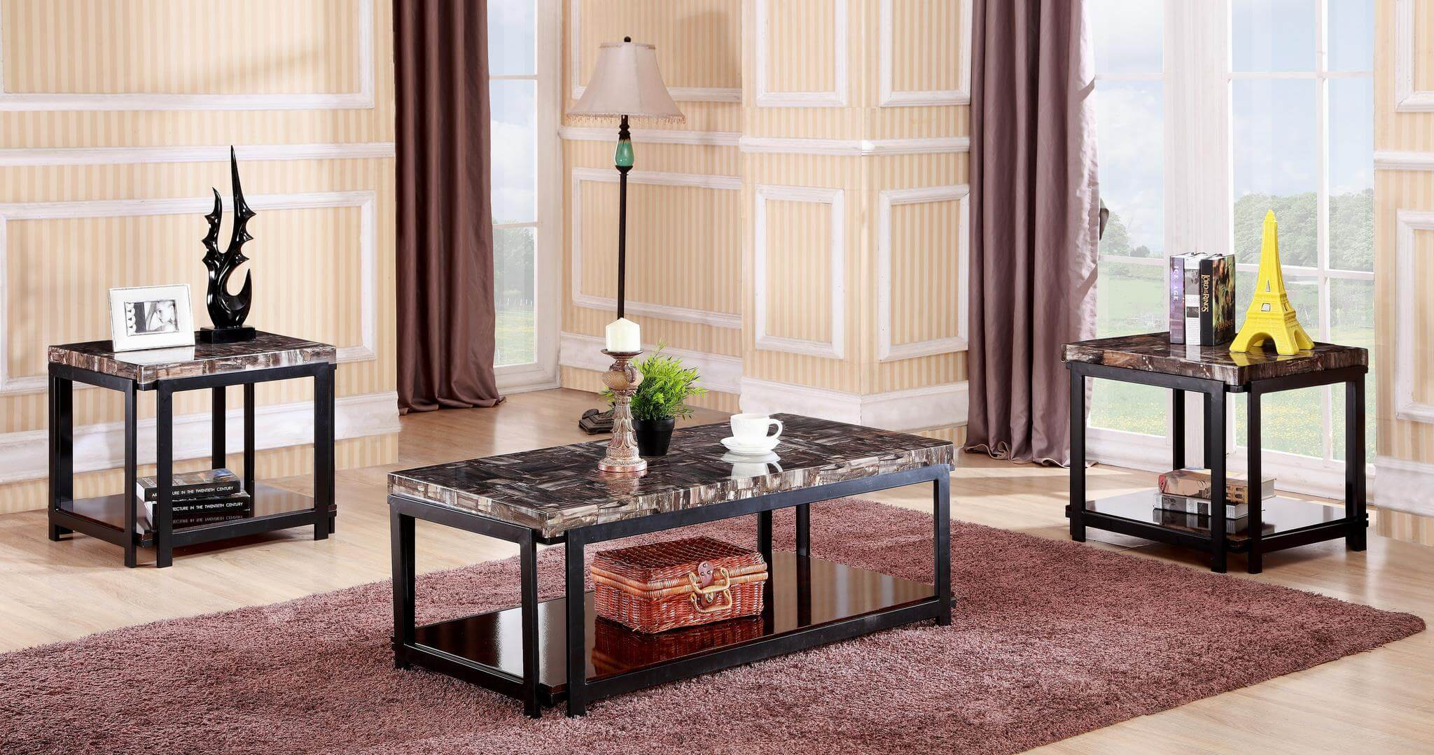 3 Pc Faux Marble Coffee End Table Set