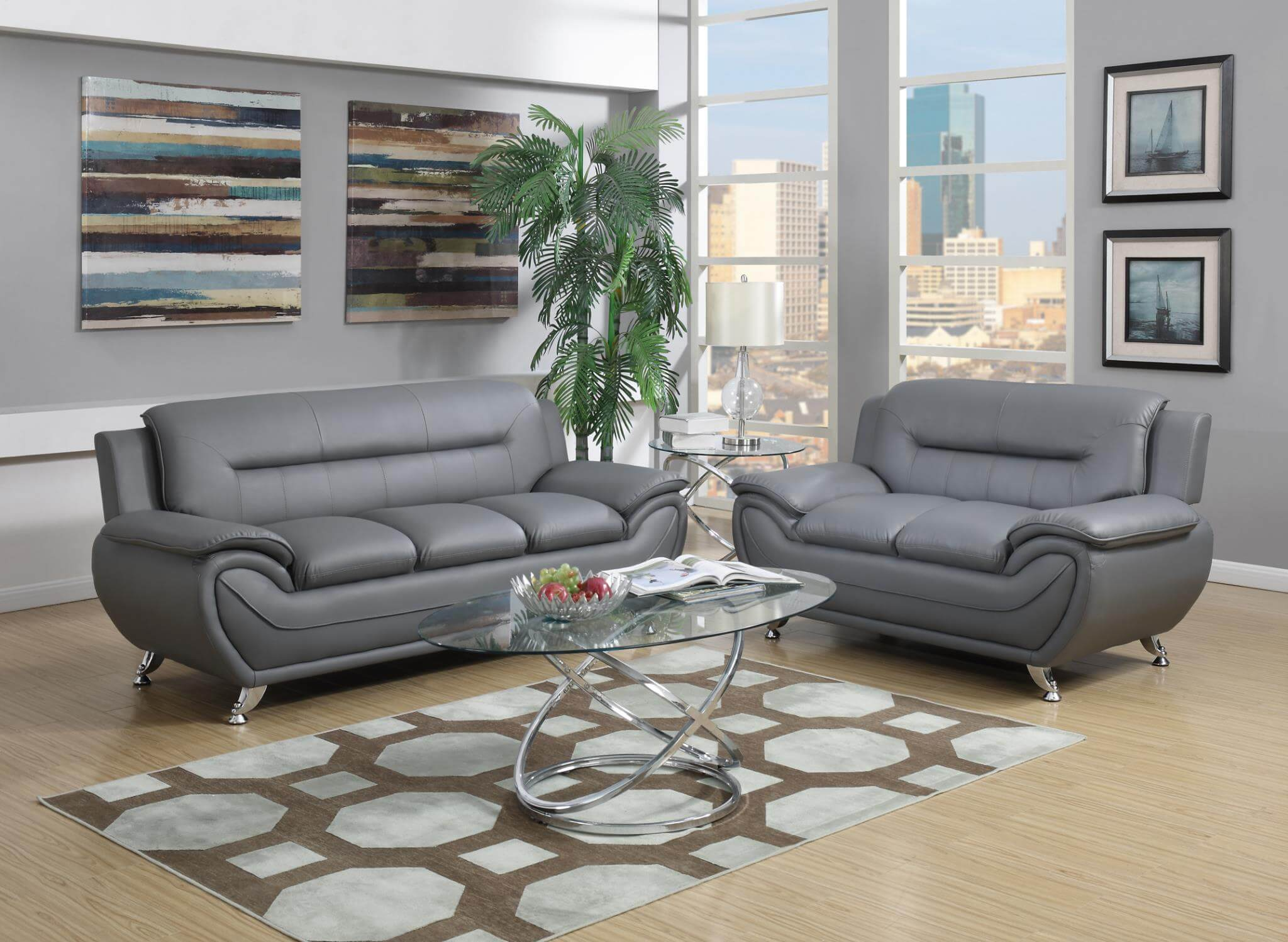 2702 Grey Contemporary Living Room Set