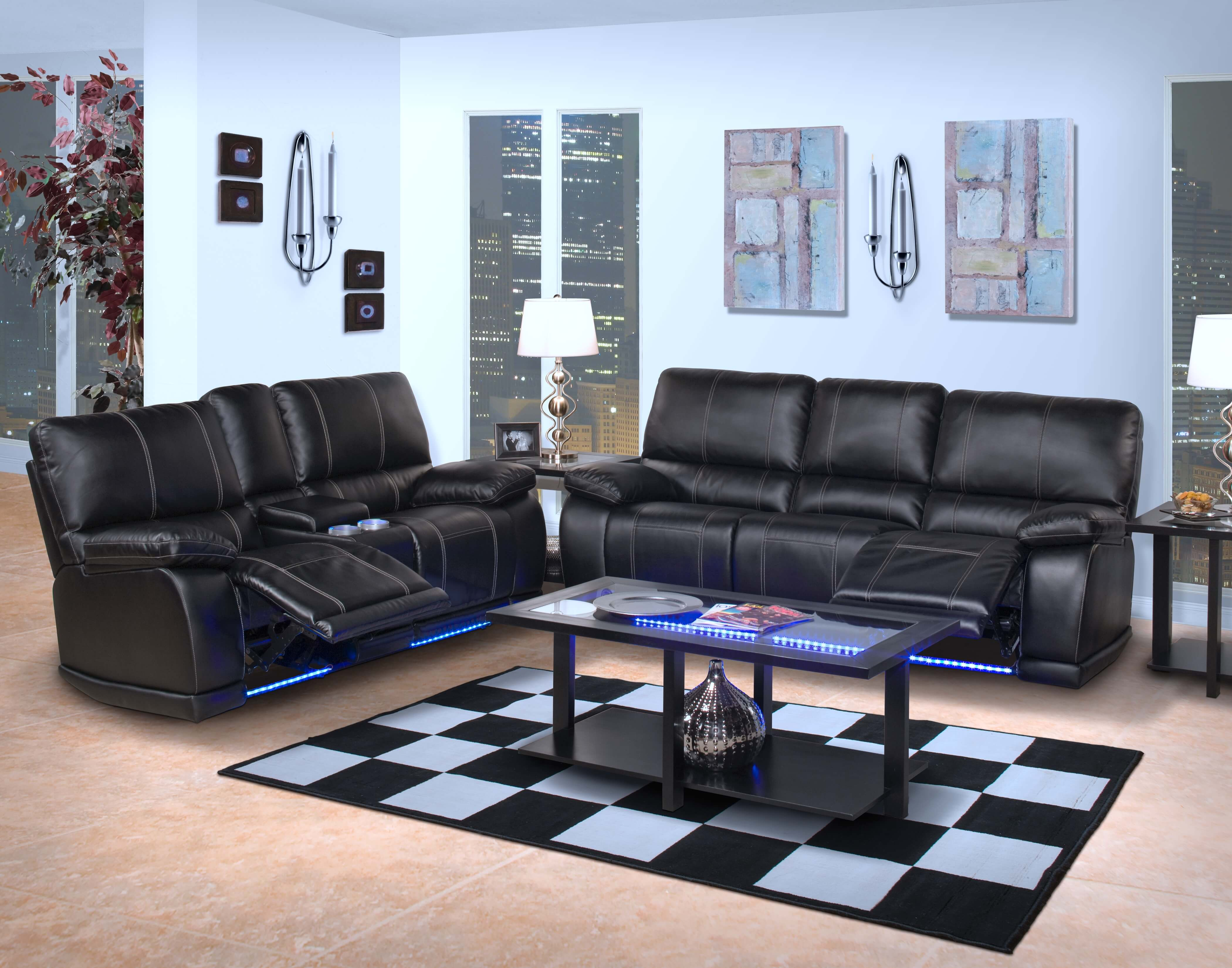 Electra Power Reclining Sofa And Loveseat With Led Lights