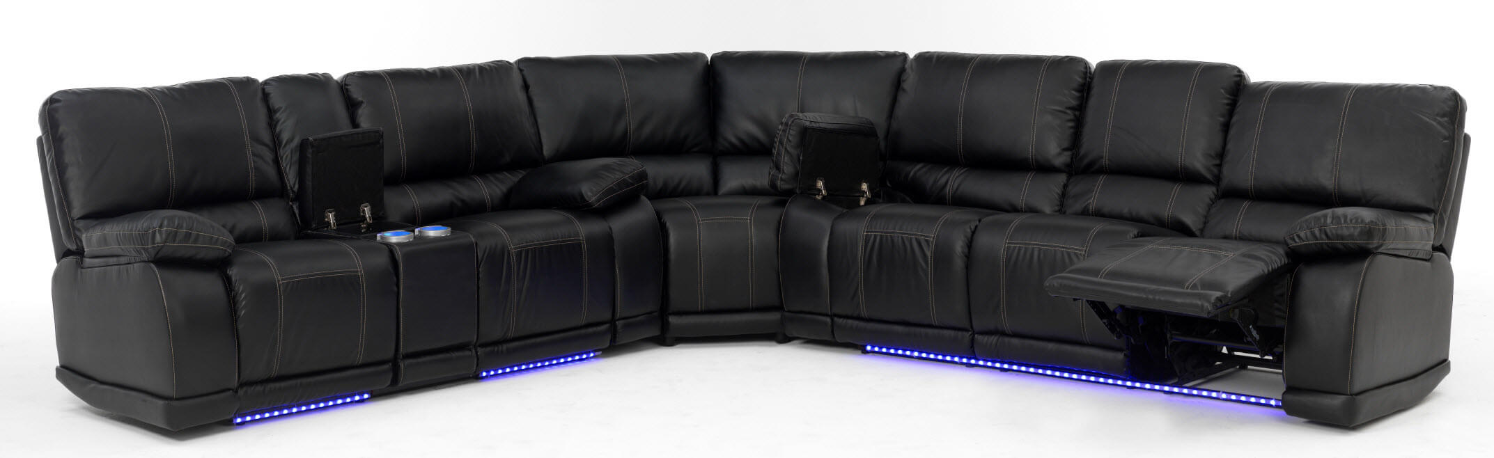 Fantastic Electra Power Reclining Sectional With Led Lights Discontinued Bralicious Painted Fabric Chair Ideas Braliciousco