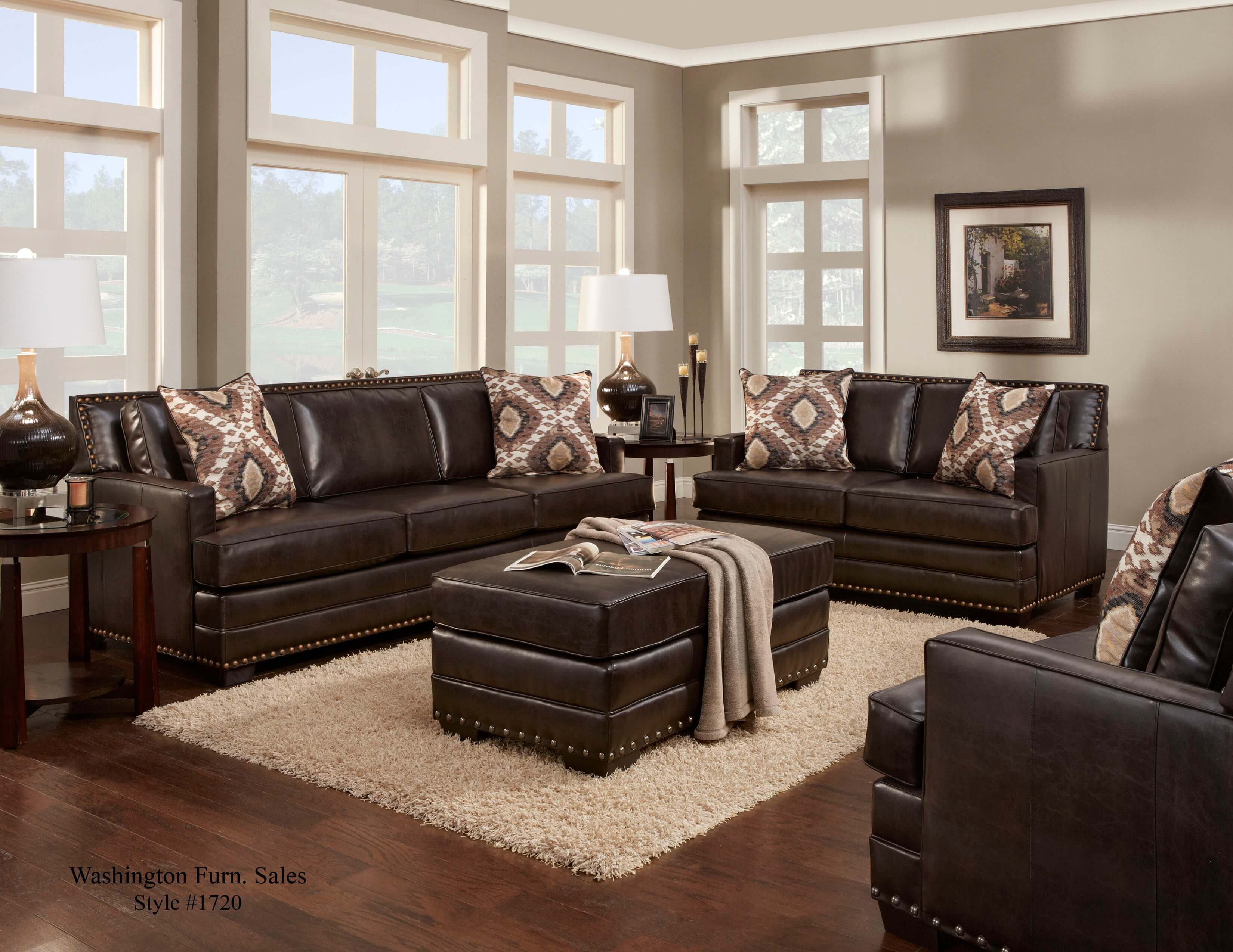 Poncho Saddle Sofa and Loveseat | Leather Living Room Sets