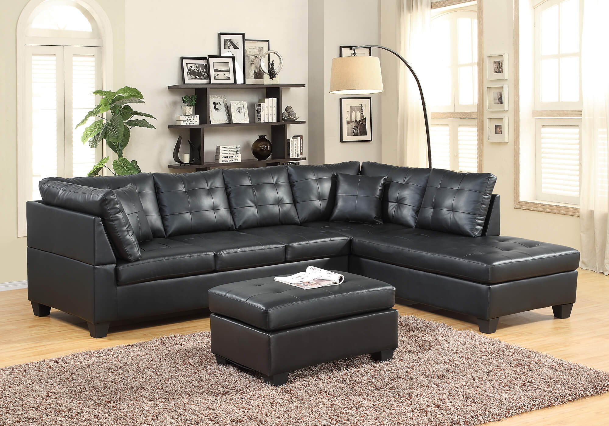Black leather like sectiona sectional sofa sets for Family room furniture