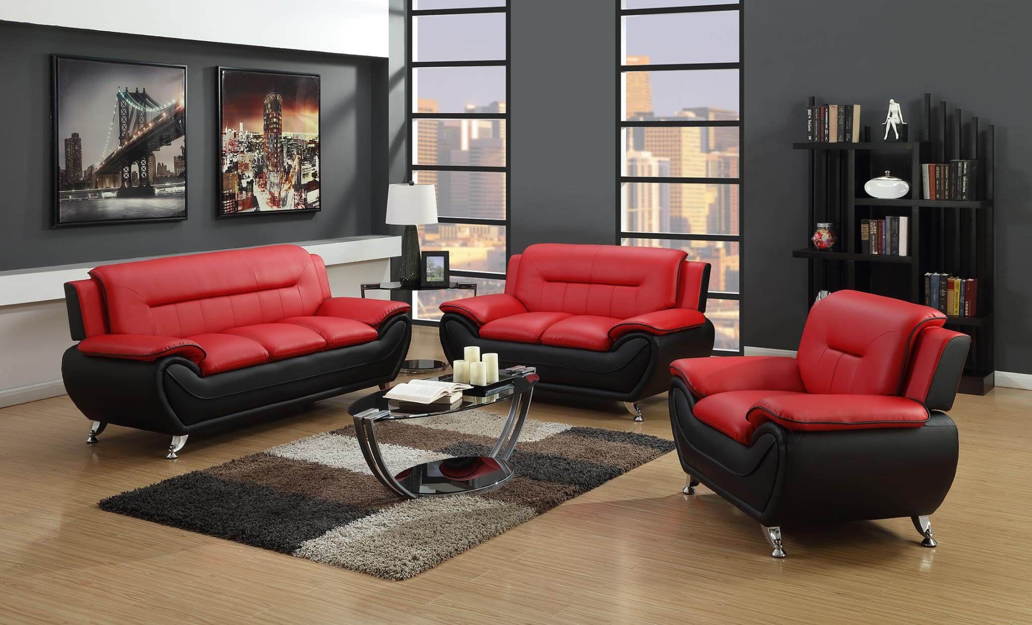 Red and Black Living Room Set | Leather Living Room Sets
