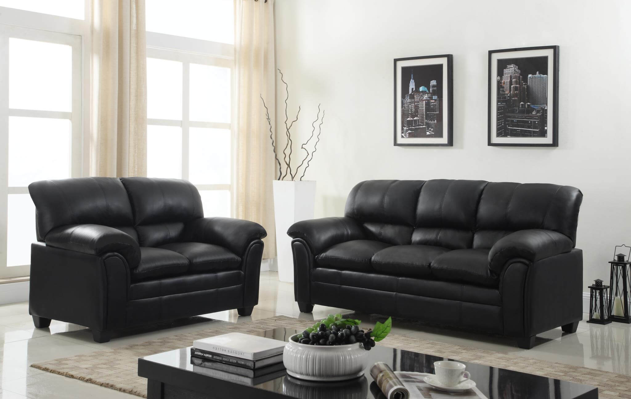 U5192 Black Sofa and Loveseat