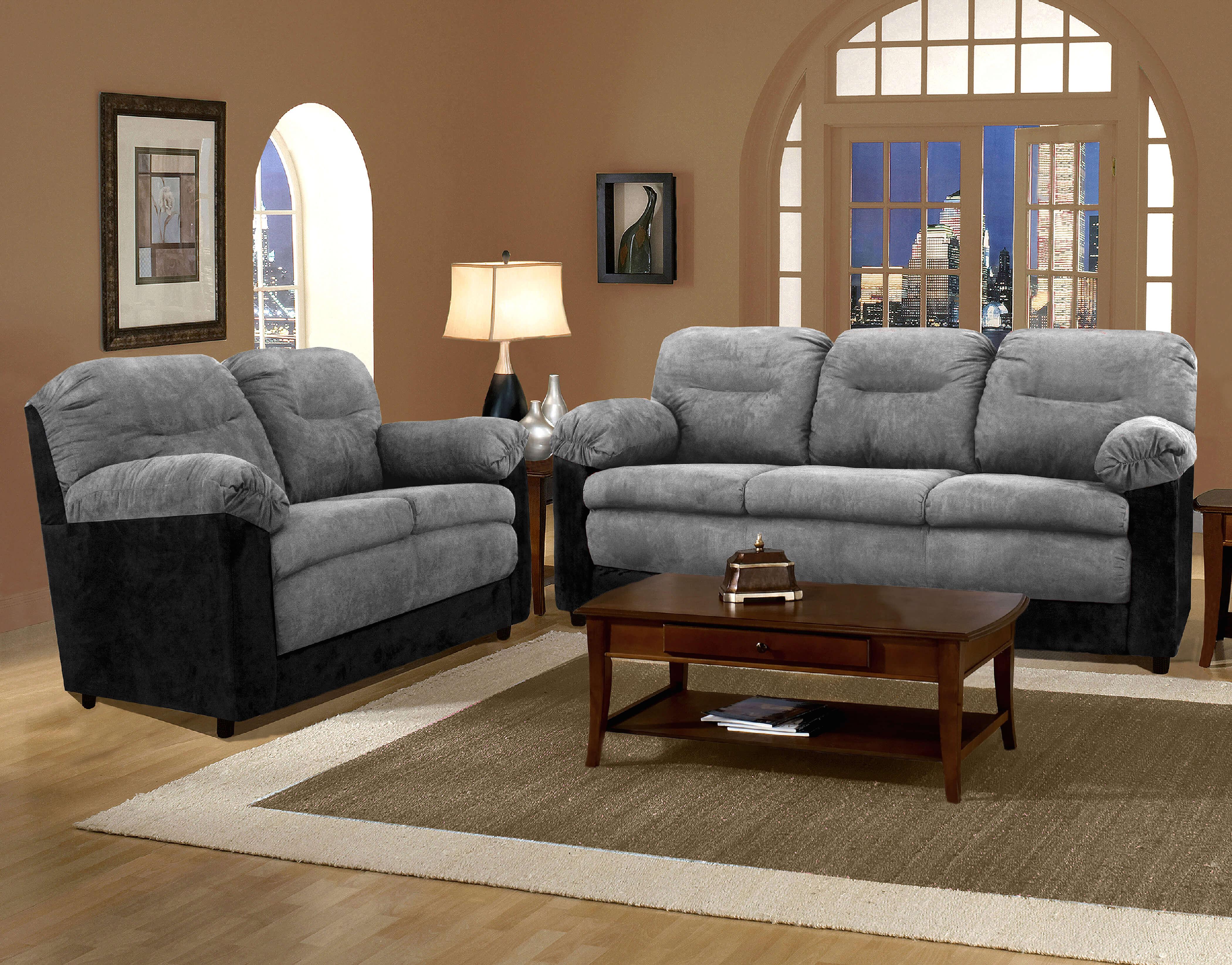 Black Sofa And Loveseat Set Coaster Reventlow 2pc Black