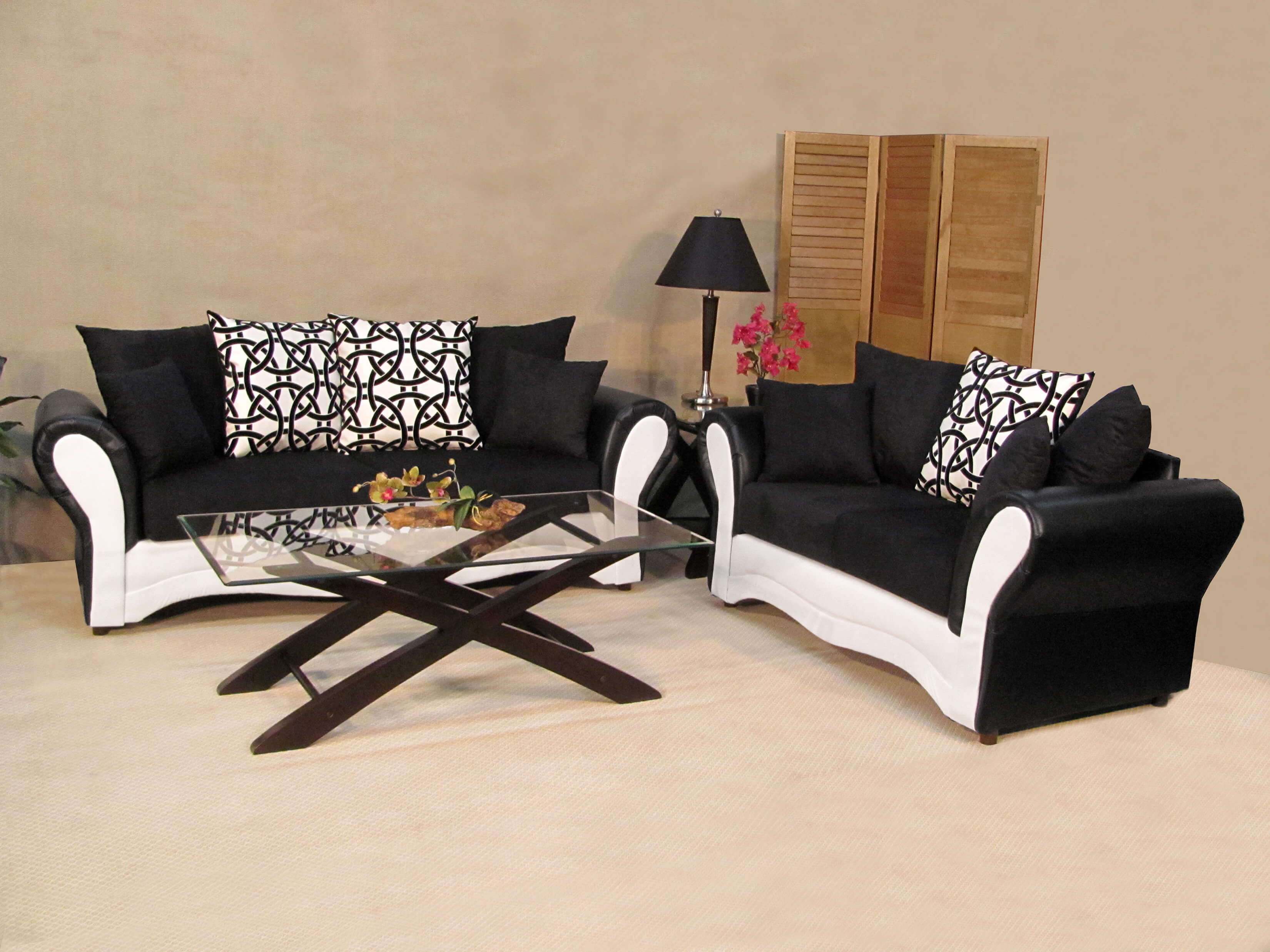 Black And White Ice Sofa Loveseat, Black And White Living Room Furniture