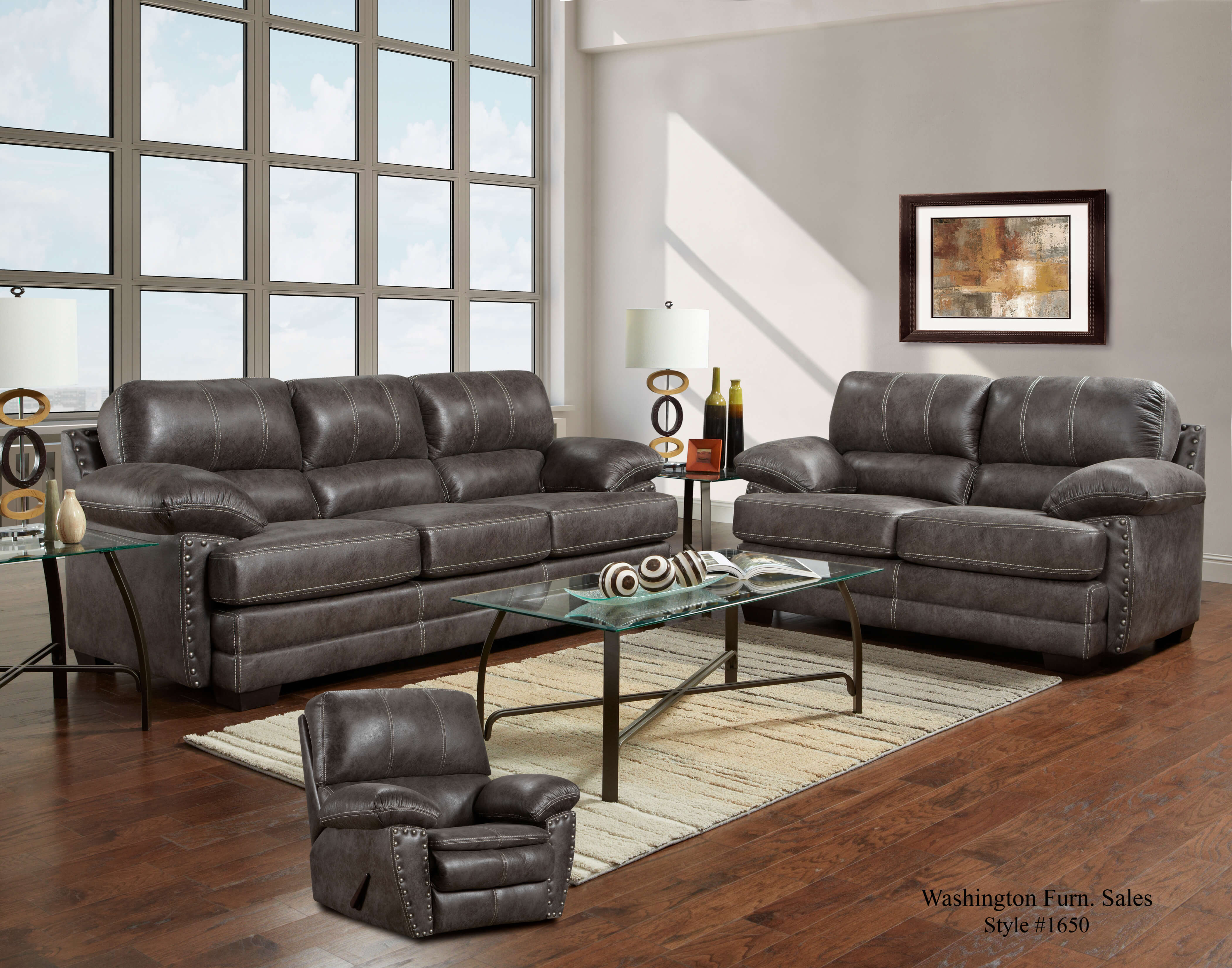 Nevada Ash Sofa And Loveseat Fabric Living Room