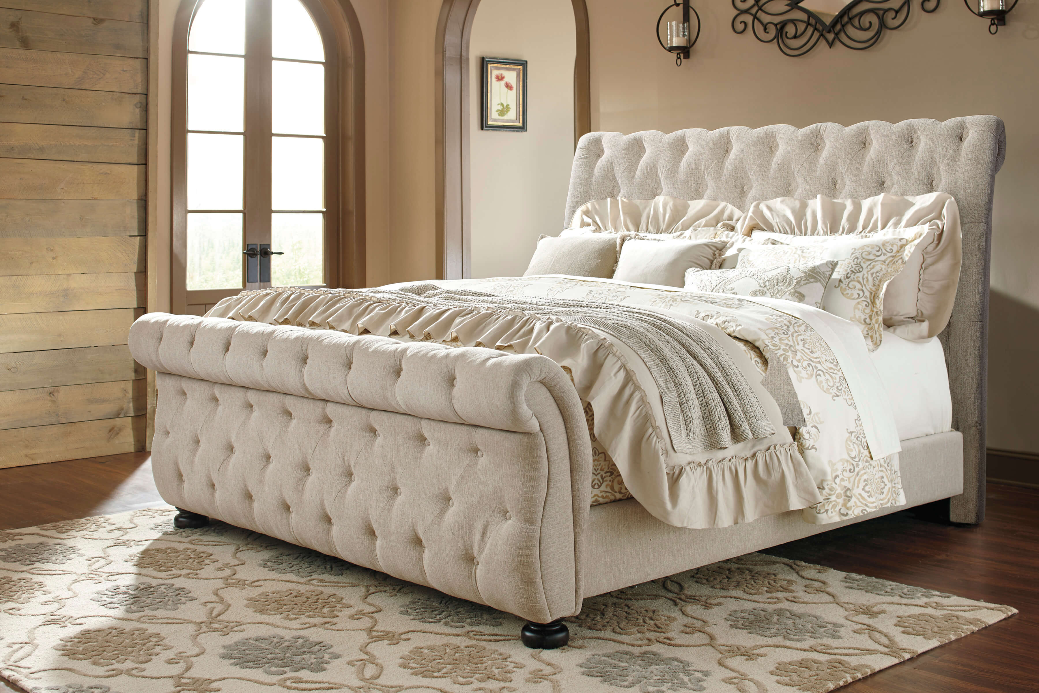 Willenburg Linen Tufted Bed By Ashley Furniture Beds