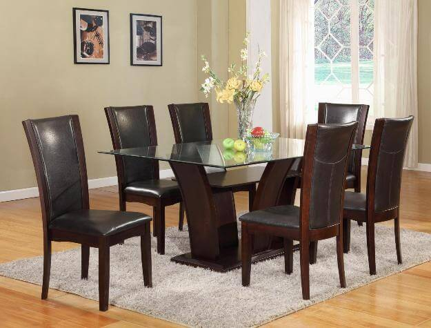 Camelia Rectangular Dining Set Brown Dining Room Sets