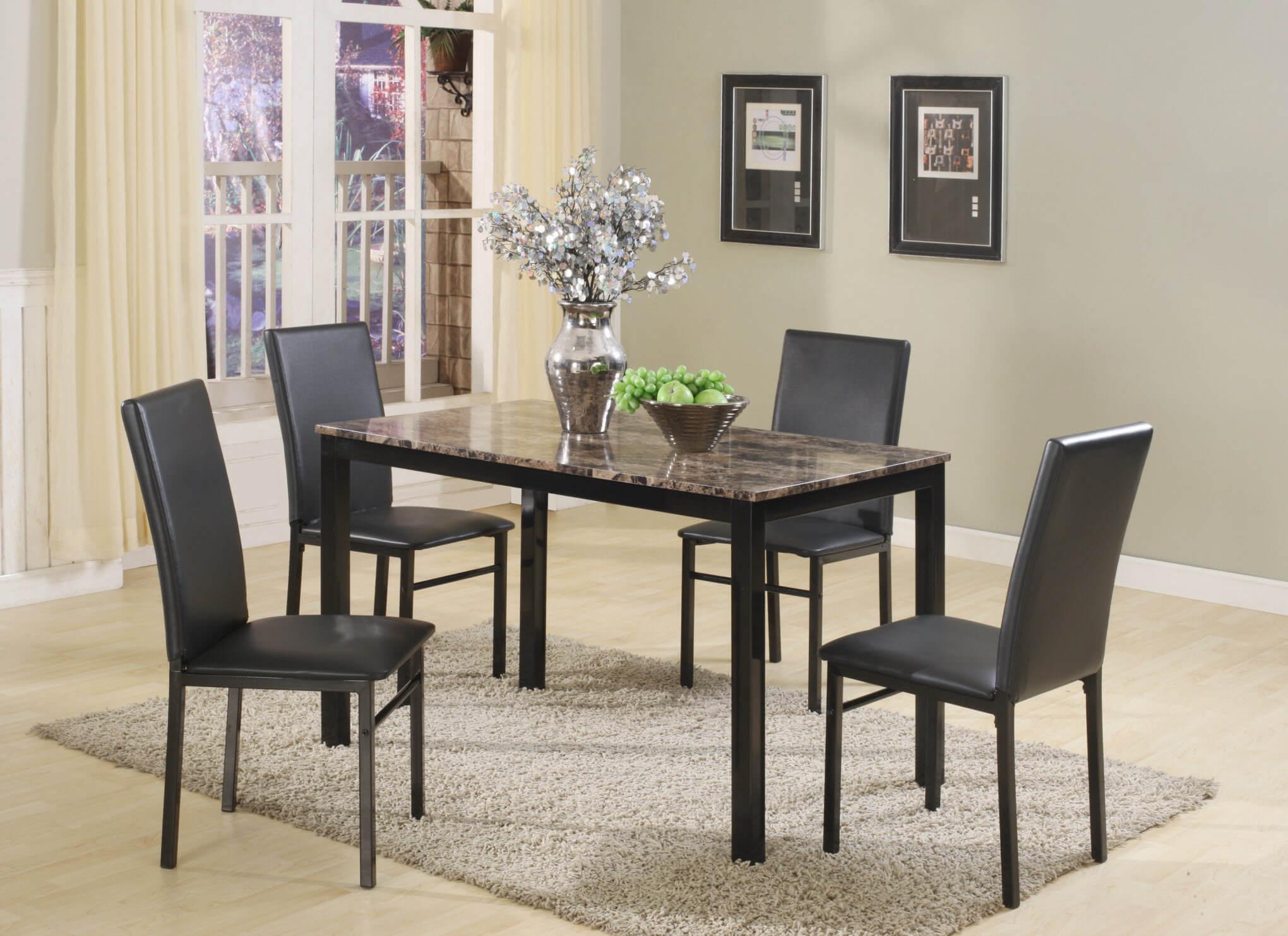 Aiden black metal 5 pc dining set dining room furniture sets for Black dining set