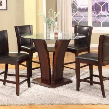 1710 Crown Mark Camelia Counter Height Glass Dining Set Brown