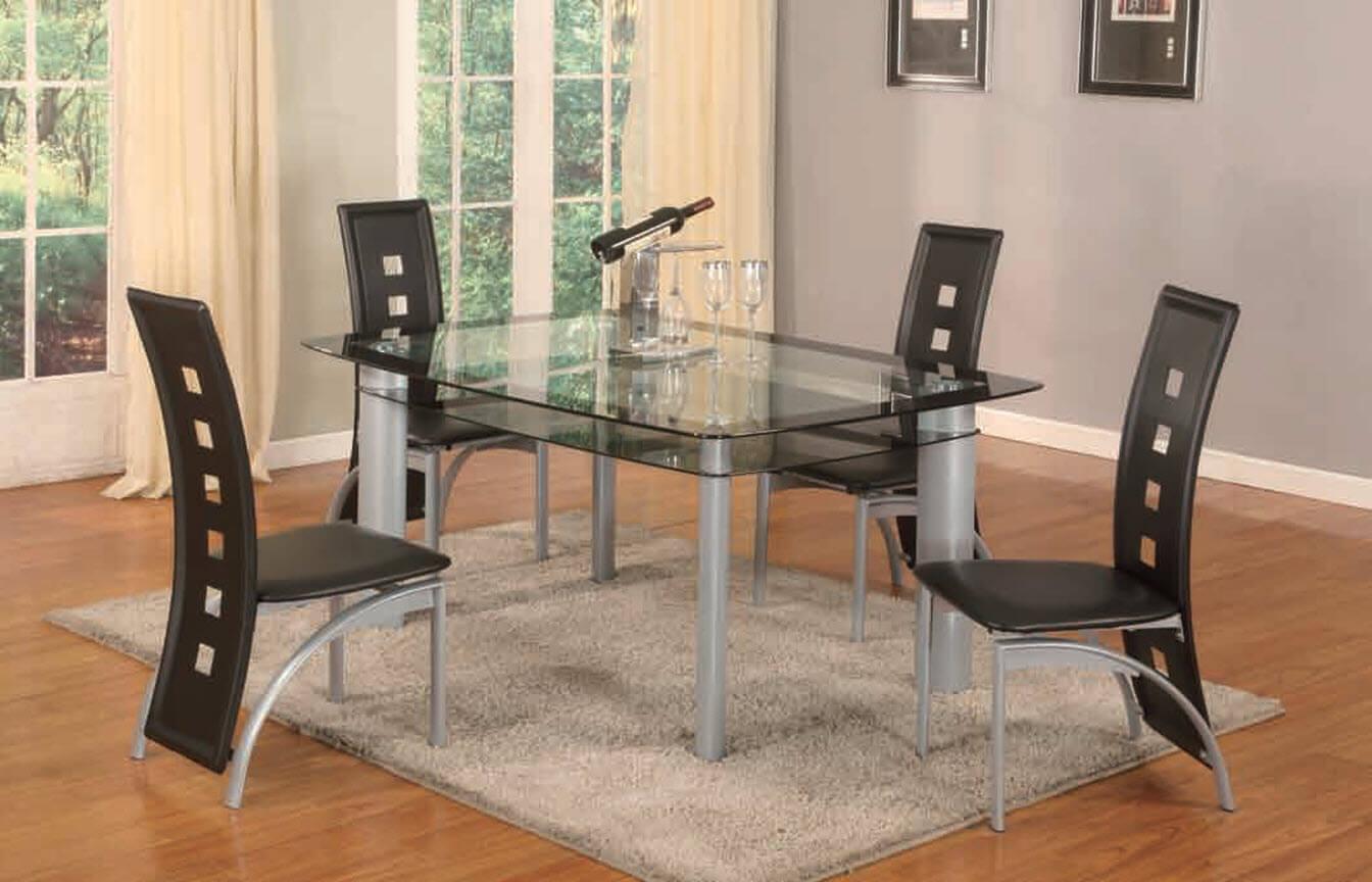 black 5 piece metro dinette set | dining furniture room set