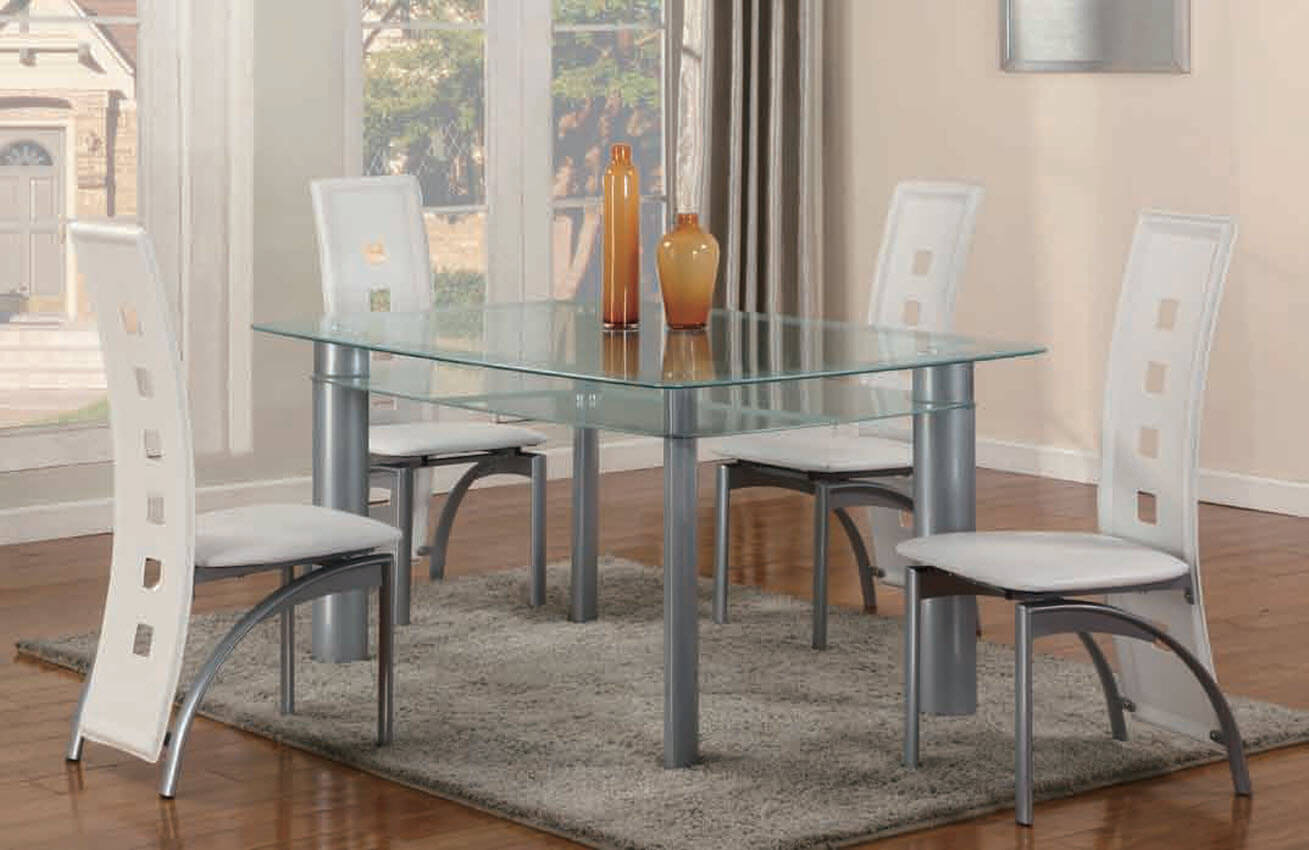 White 5 piece metro glass dinette set dining room sets for Living rooms bedrooms dinettes