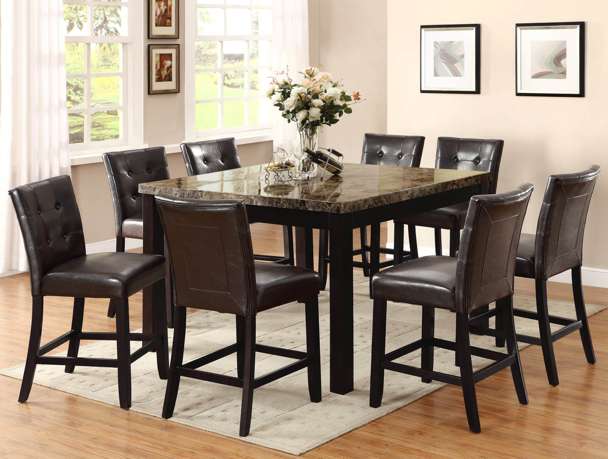 bruce faux marble counter height set | dining room sets
