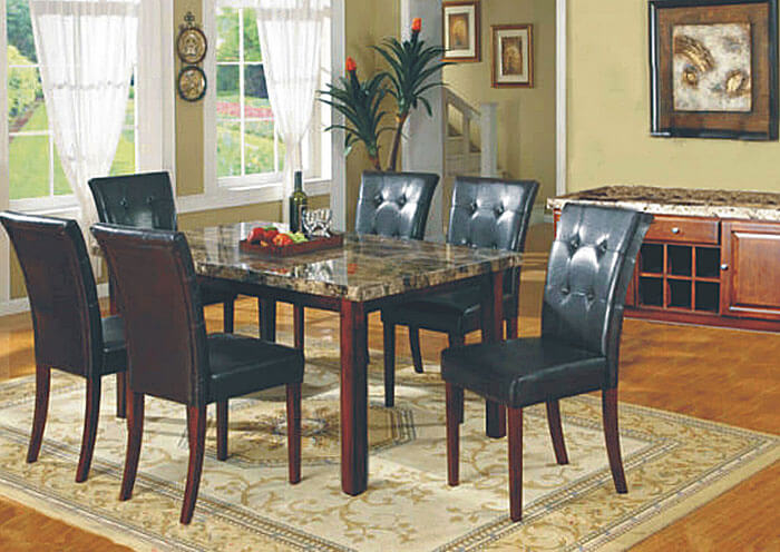 3231 Faux Marble Dining Set With Black Tufted Chairs