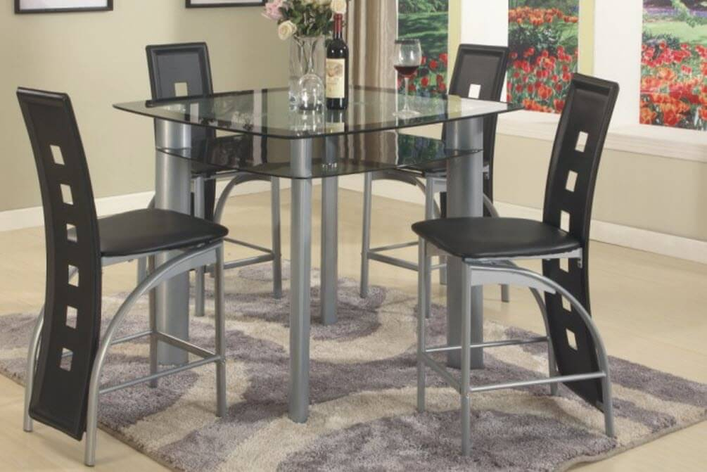 3422 Black Metro 5 Piece Counter Height Set