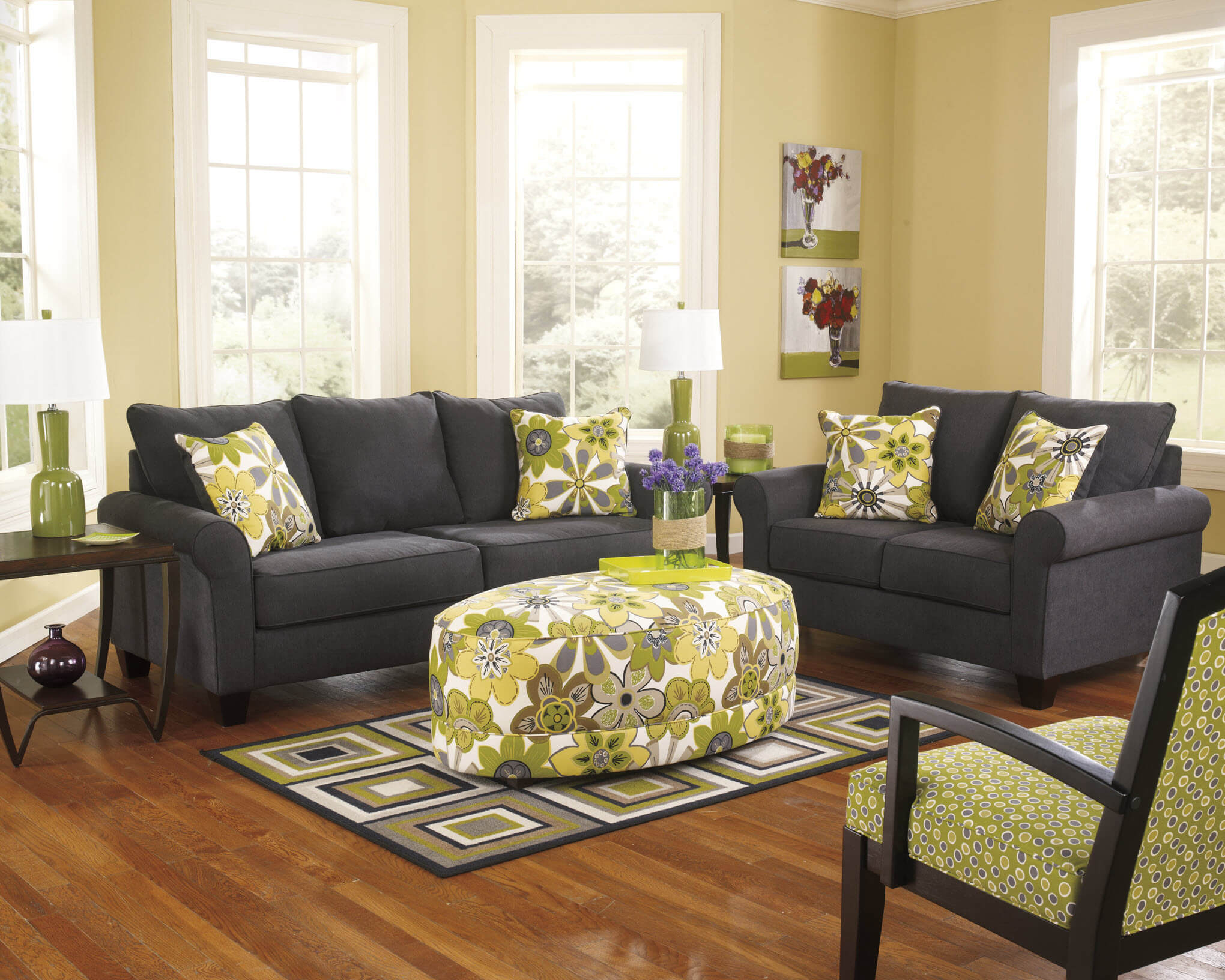 Nolana Charcoal Sofa and Loveseat Fabric Living Room Sets
