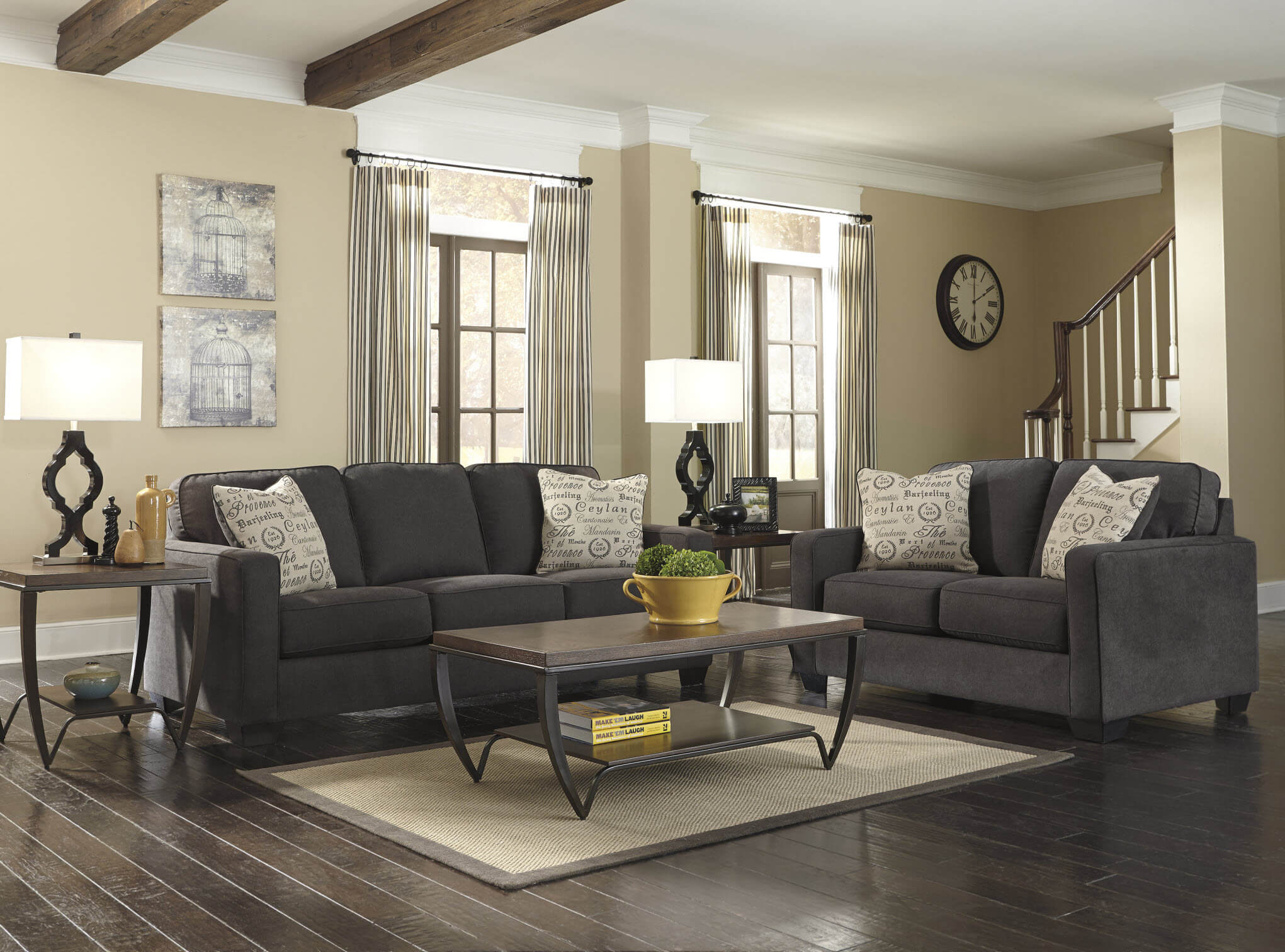 living room furniture photo gallery alena charcoal sofa and loveseat living room sets 22924