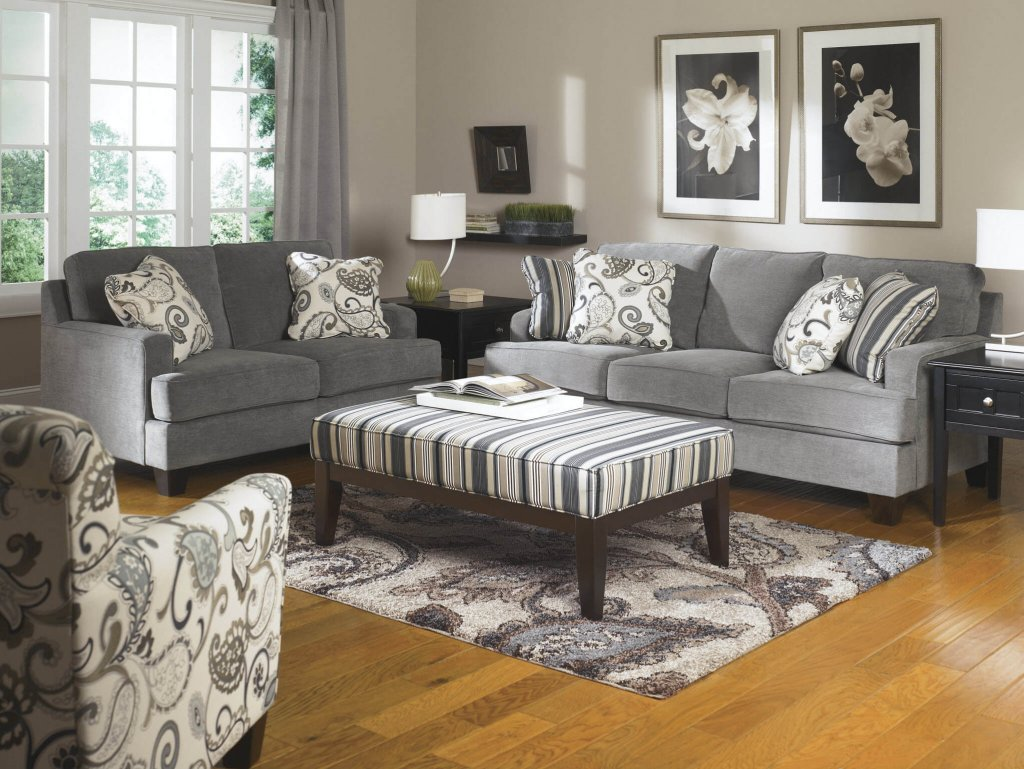 Ashley Yvette Steel Sofa And Loveseat Living Room Sets